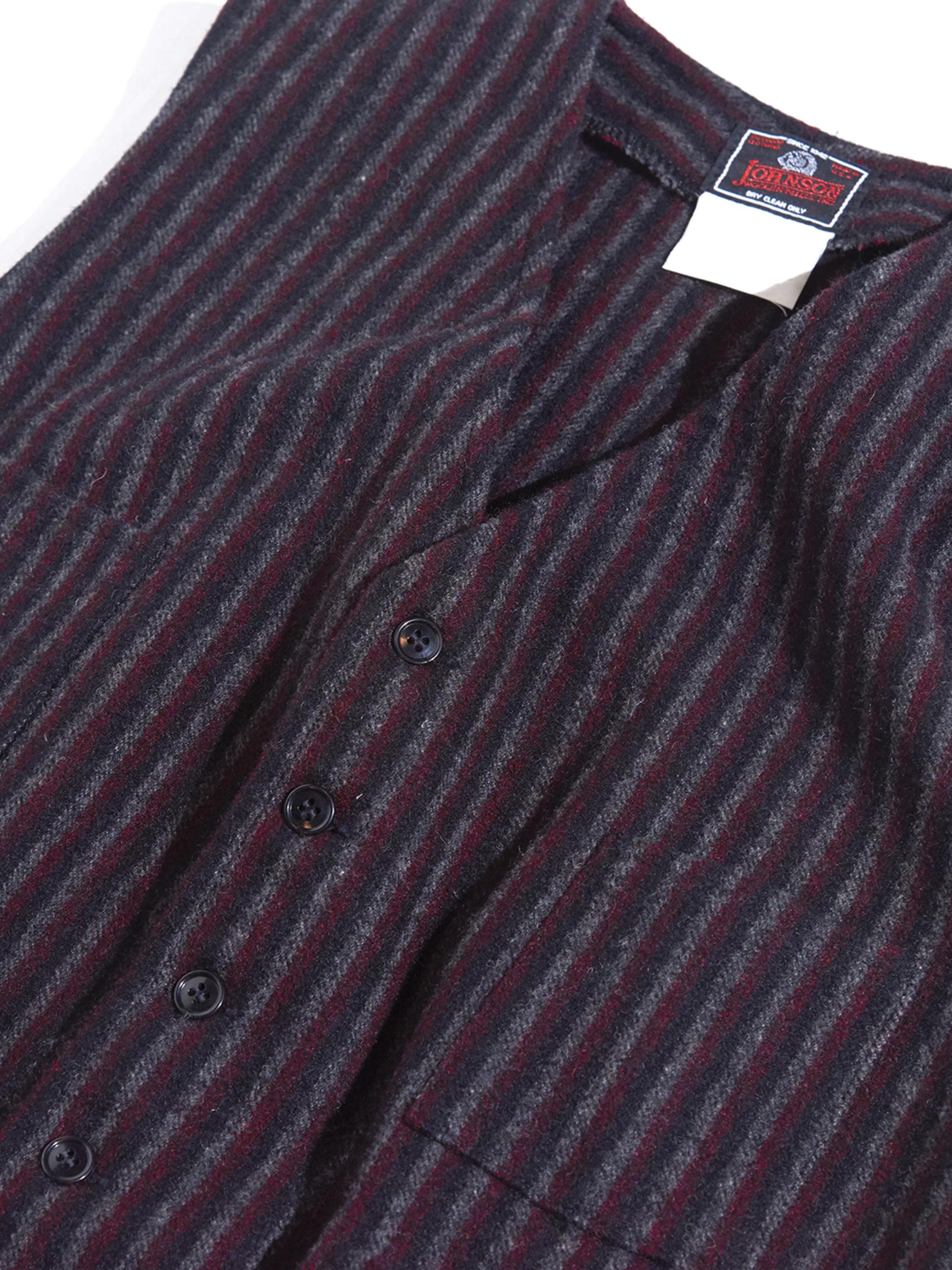 "1980s ""JOHNSON"" wool stripe vest -BURGANDY-"