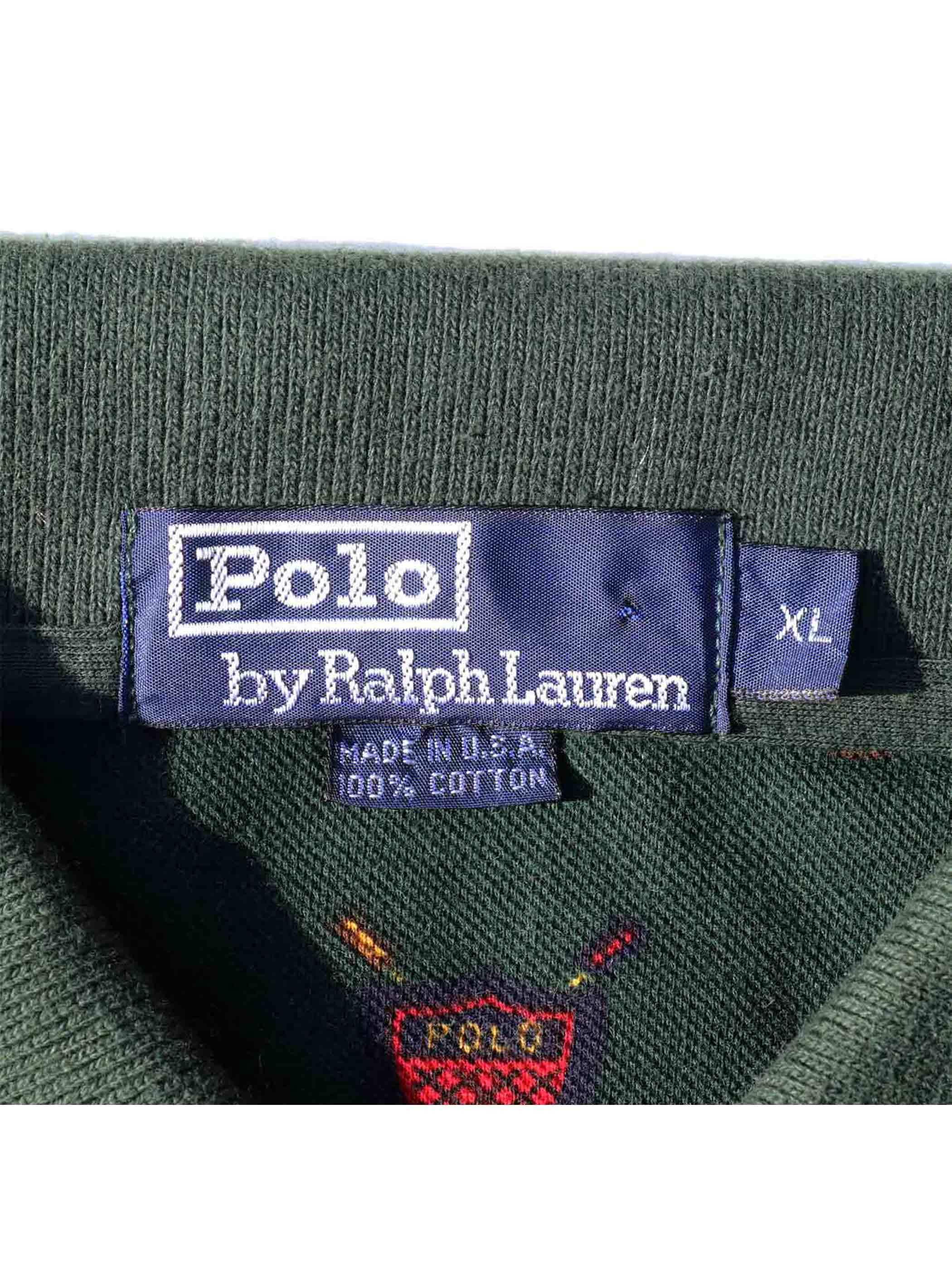 90's POLO RALPH LAUREN USA製 ダークグリーン 総柄 ポロシャツ [XL]