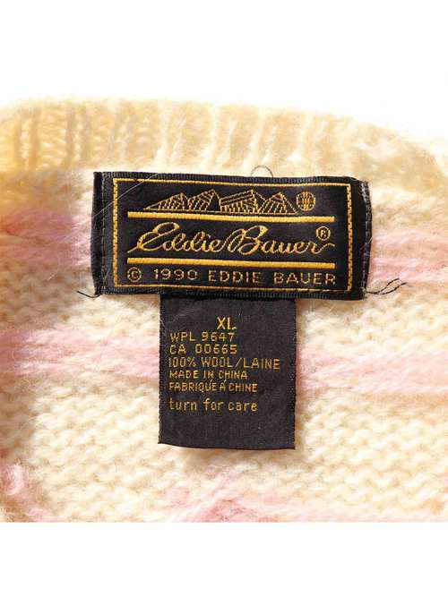 90's EDDIE BAUER パステルカラー アニマルパターン ウールニット [XL]