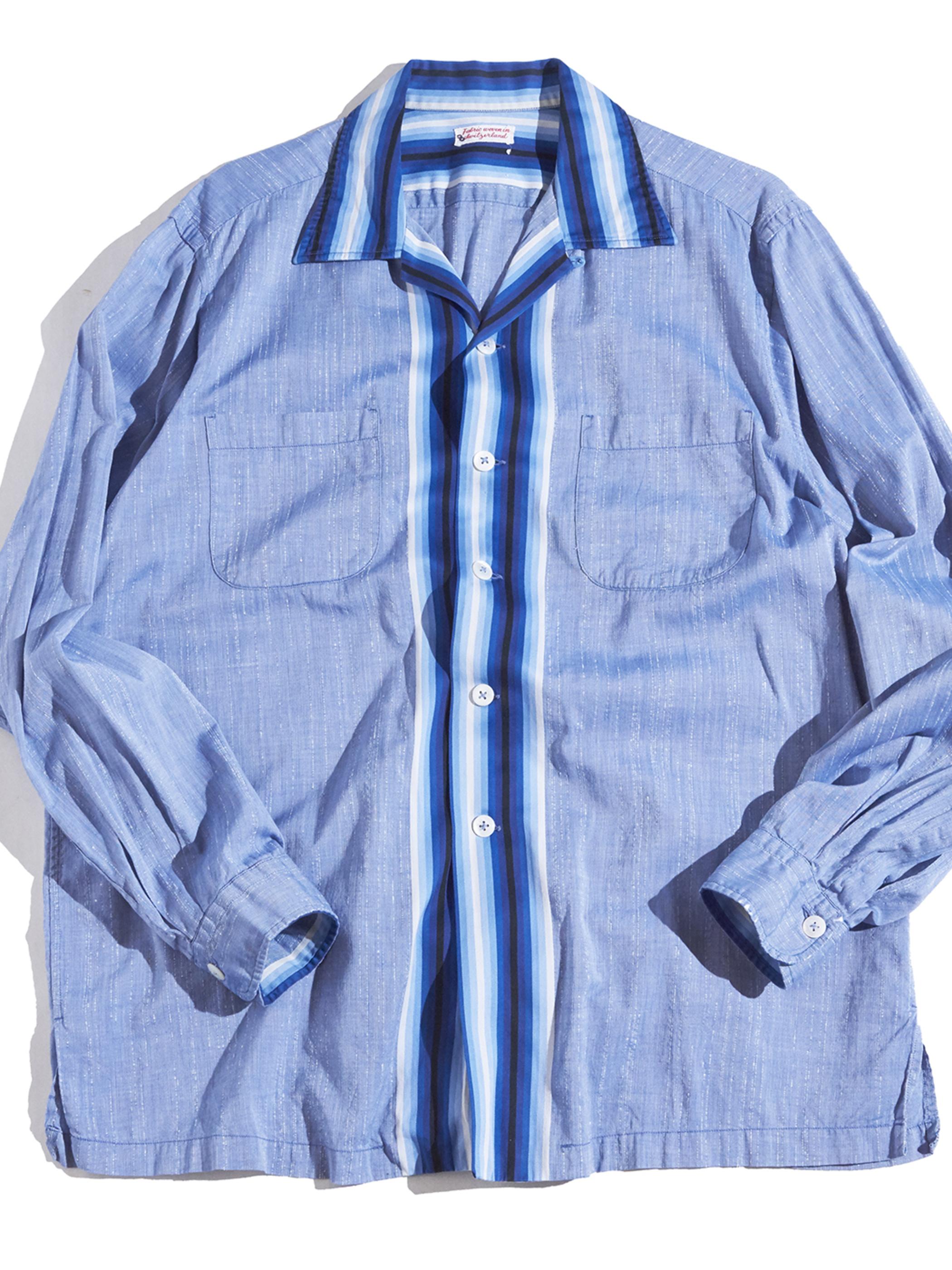 """1950s """"unknown"""" swiching pattern shirt -SAX-"""