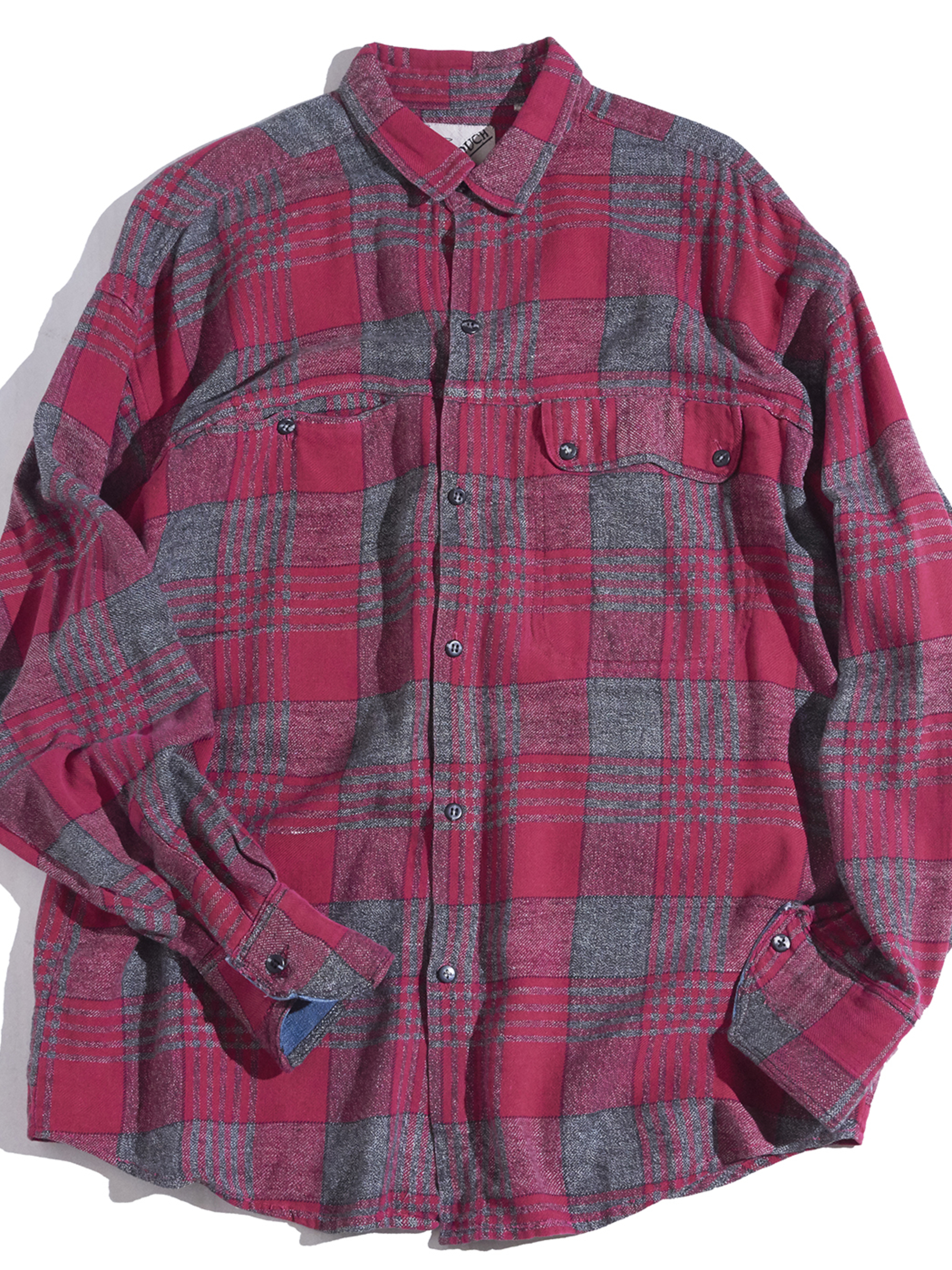"""1980s """"GOUCH"""" cotton/rayon check shirt -RED-"""