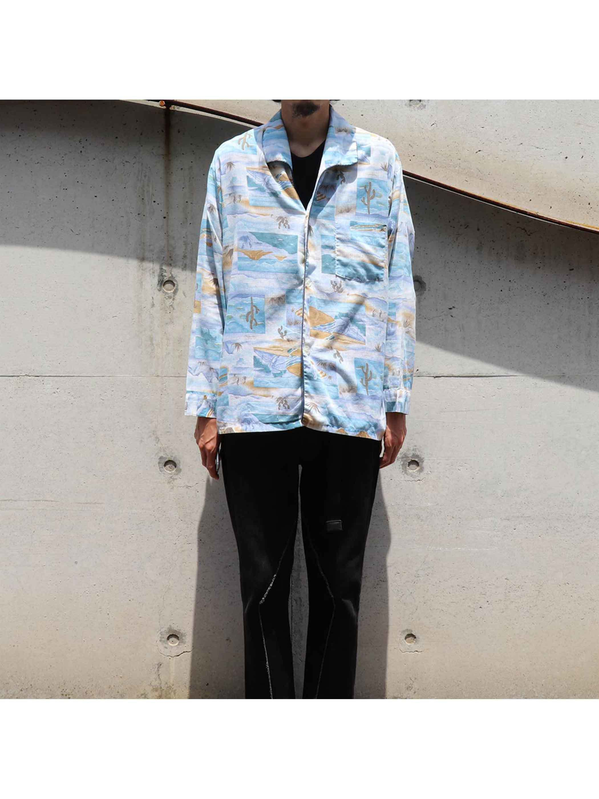70's DESIGNER COLLECTION Landscape Pattern Pajama Shirt [M]