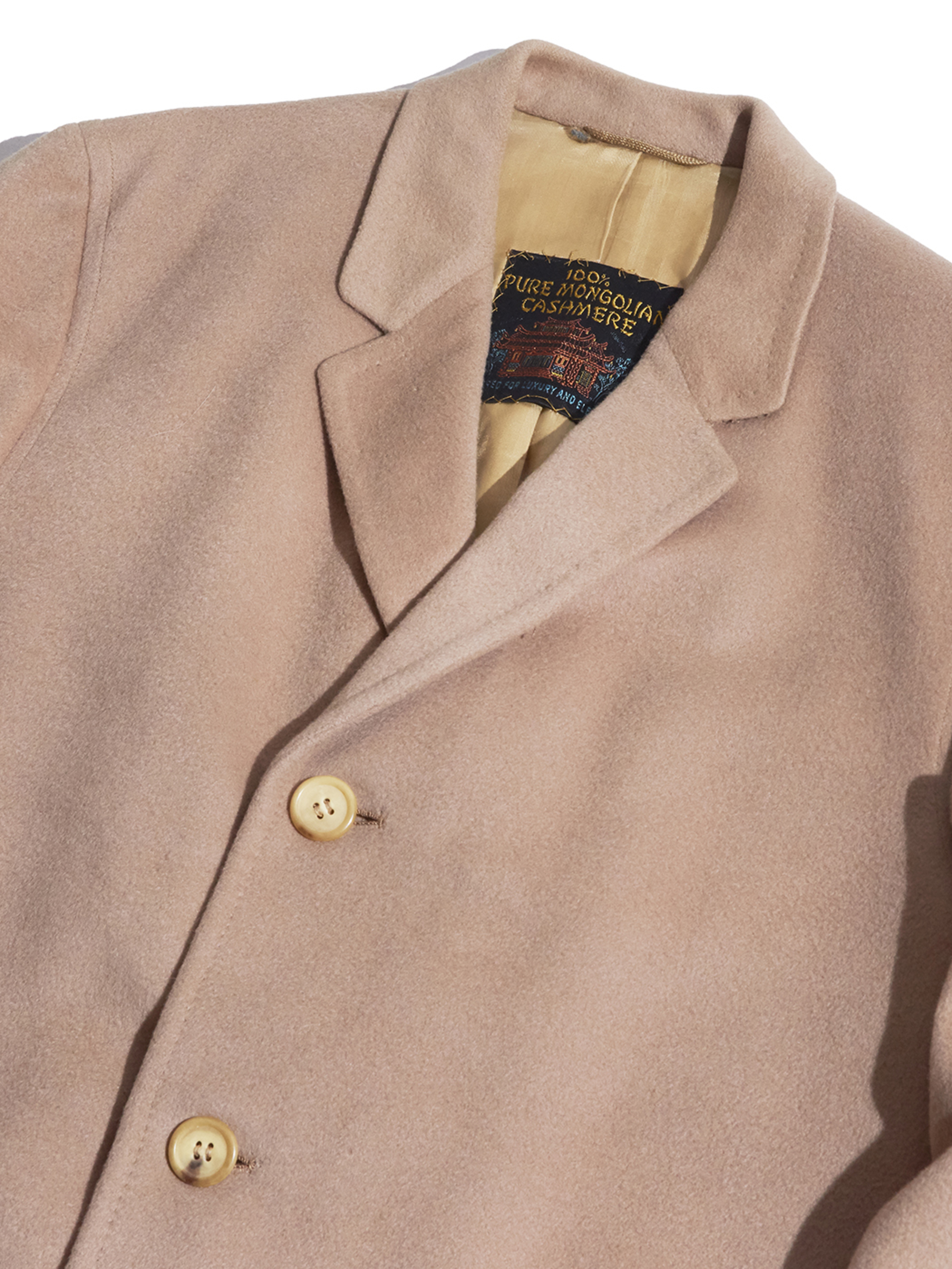 """1960s """"Rubel Squires"""" cashmere chesterfield coat -BEIGE-"""