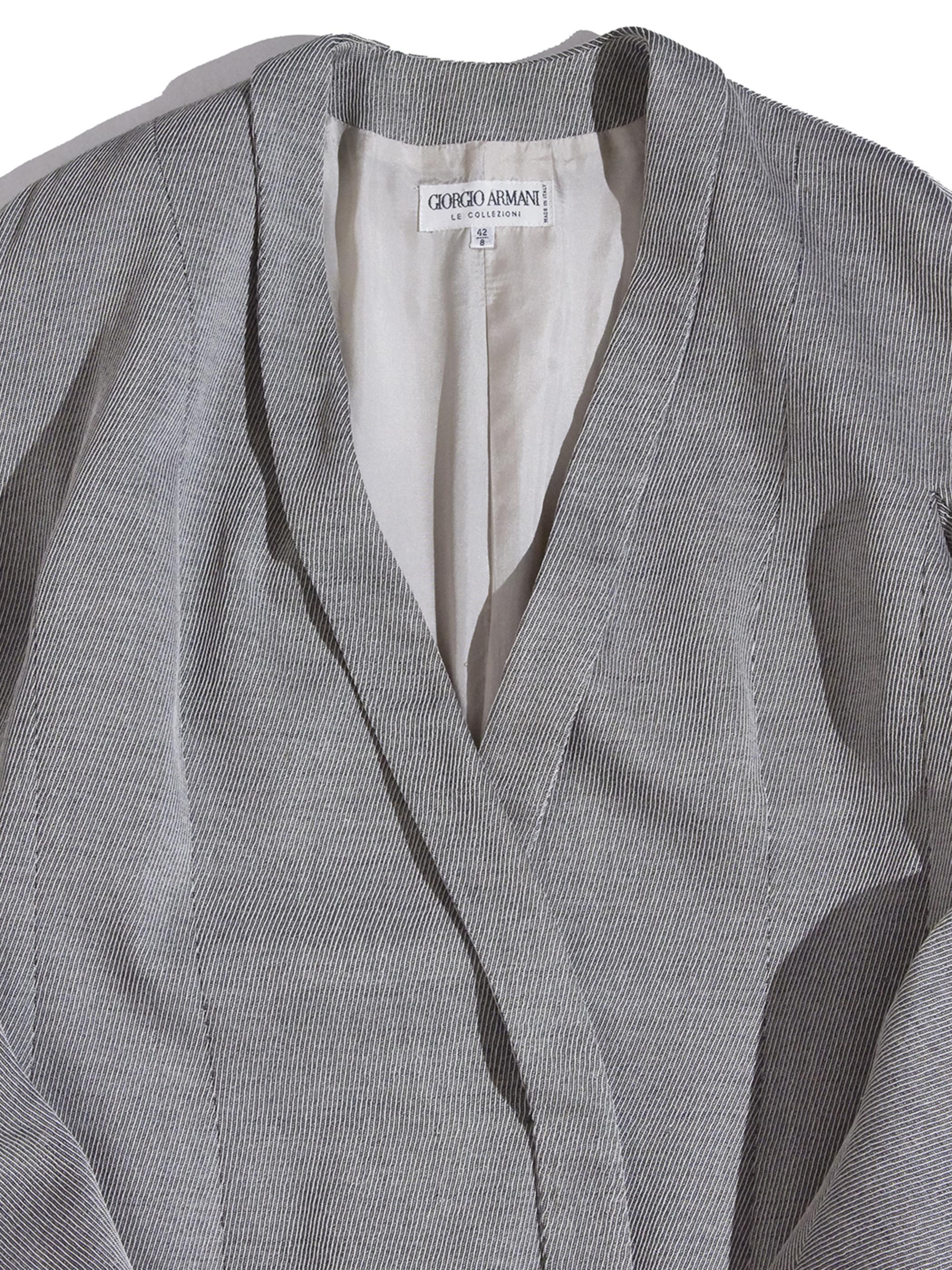 "1980s ""GIORGIO ARMANI"" wool code lane cardigan jacket -GRAY-"