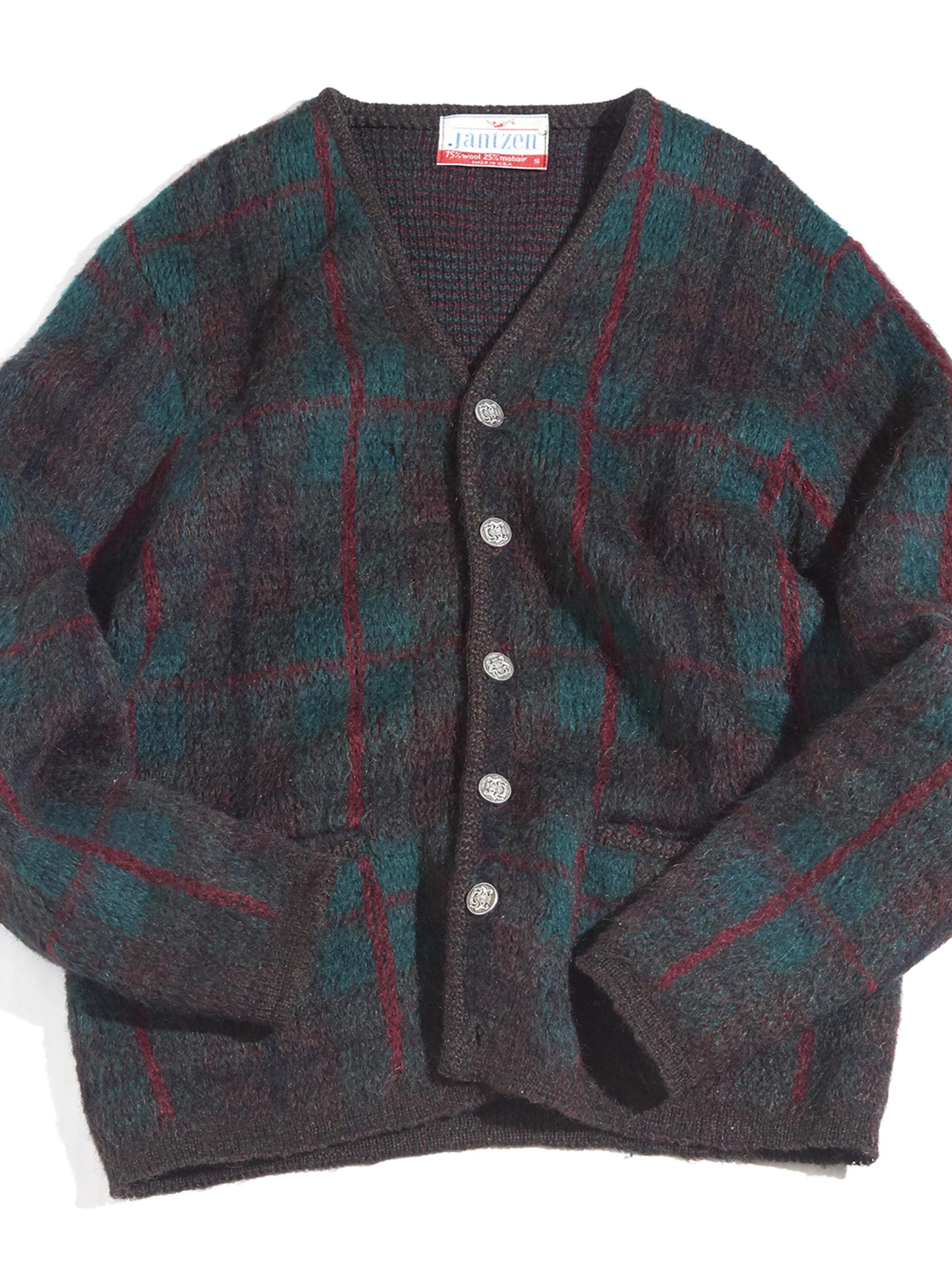 """1960s """"Jantzen"""" mohair knit cardigan -GREEN-"""