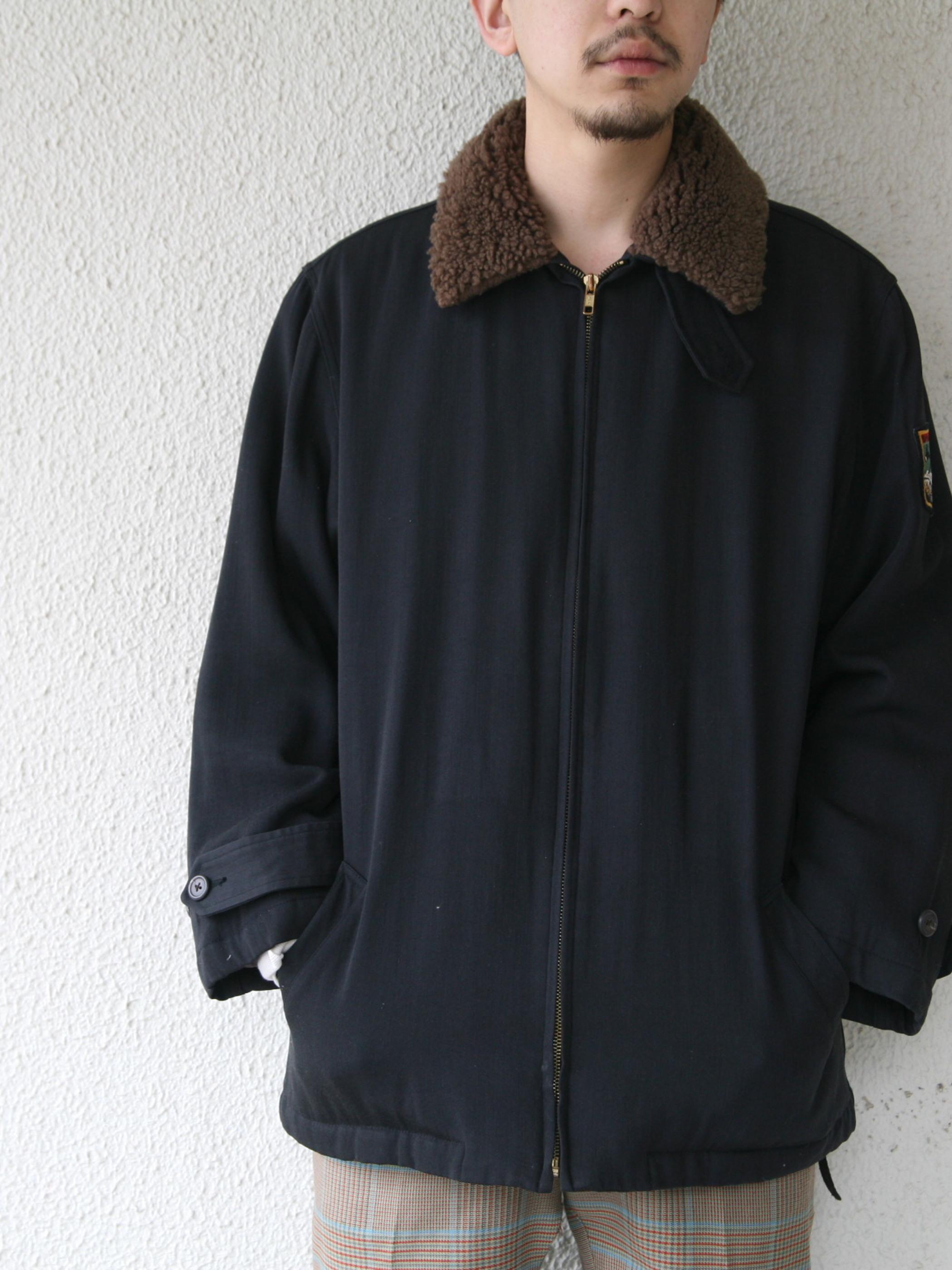"1980s ""Ralph Lauren"" wool gabadine boa jacket -BLACK-"