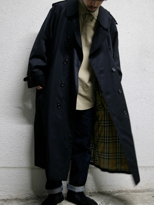 "1990s ""Burberrys"" trench coat -BLACK-"