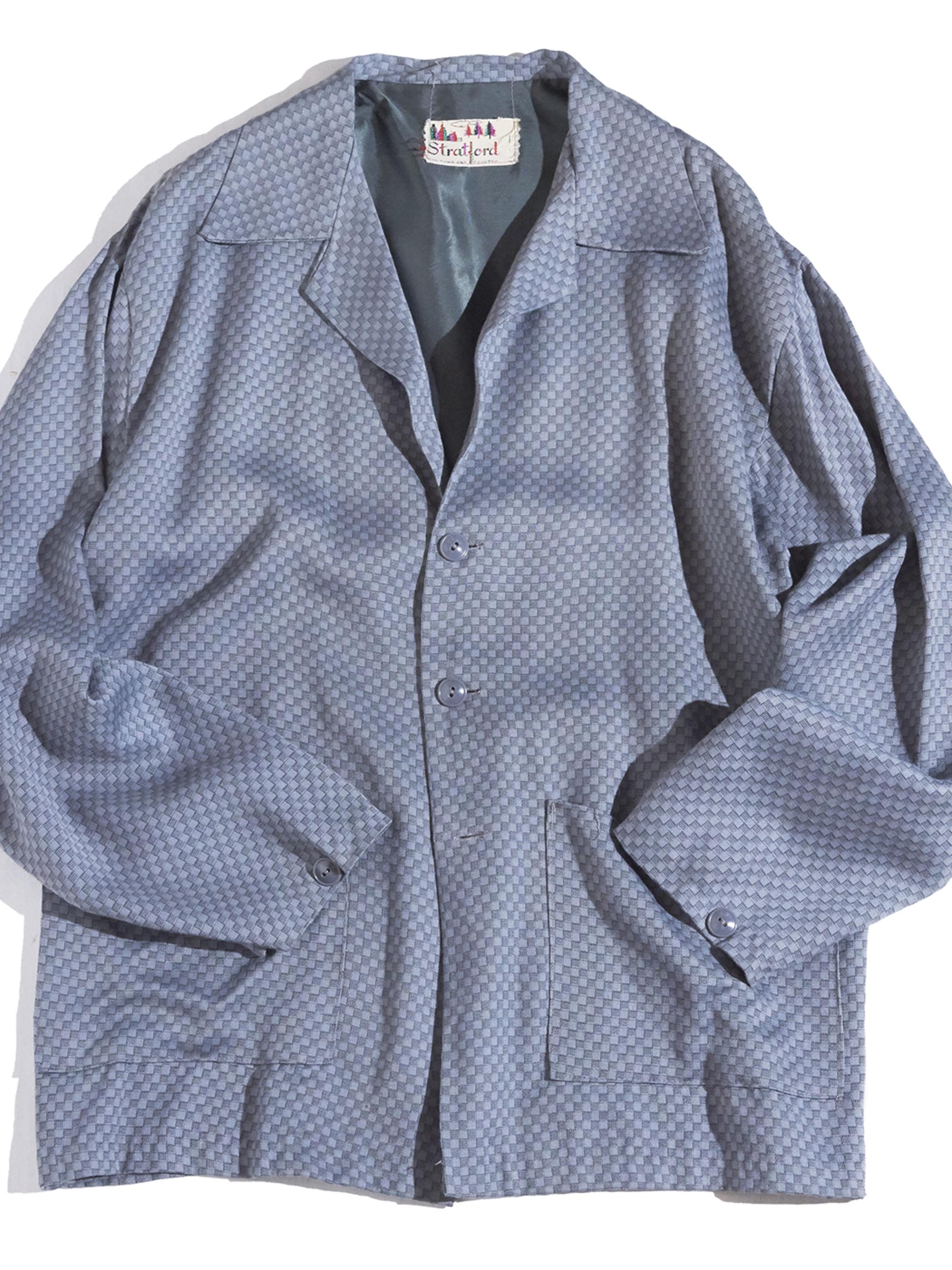 "1950s ""Stratlord"" rayon pattern jacket -GREY-"