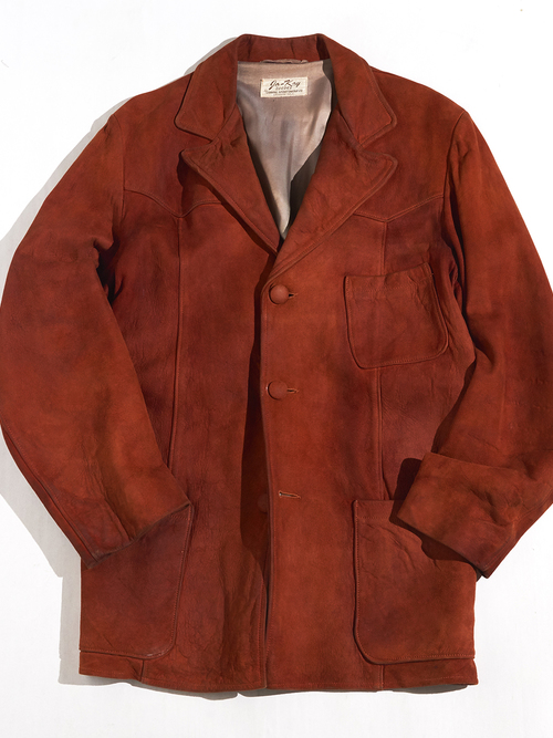 "1960s ""go-kay"" suede leather tailored jacket -REDDISH BROWN-"