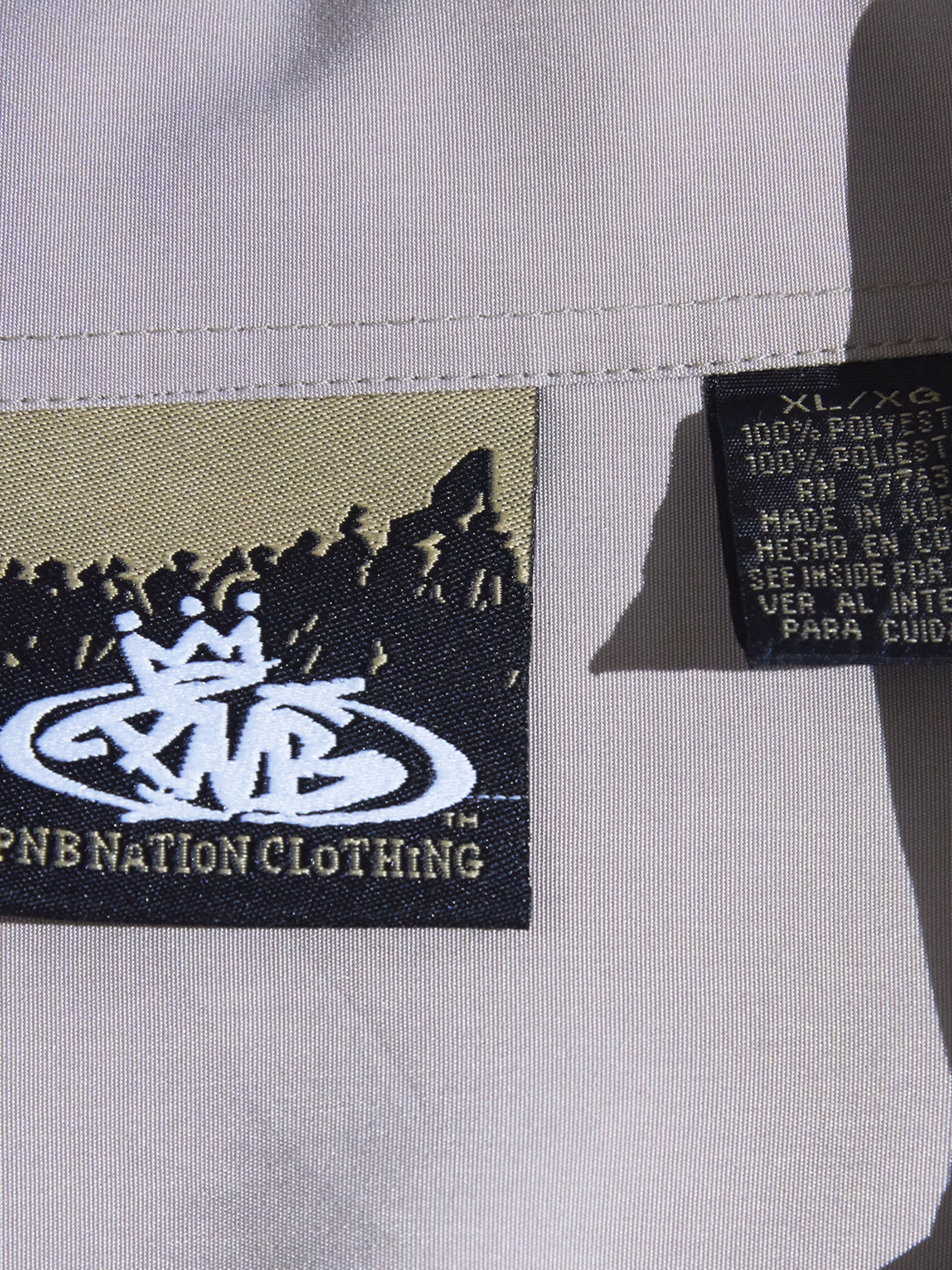 "1990s ""PNB NATION"" s/s poly pattern shirt -GREY-"