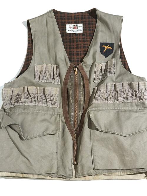 "1960s ""WOOD STREAM"" half moon pocket hunting vest -GREY-"