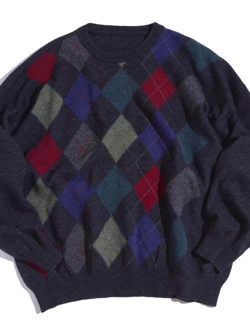 """1990s """"unknown"""" wool argyle pattern knit -CHACOAL-"""