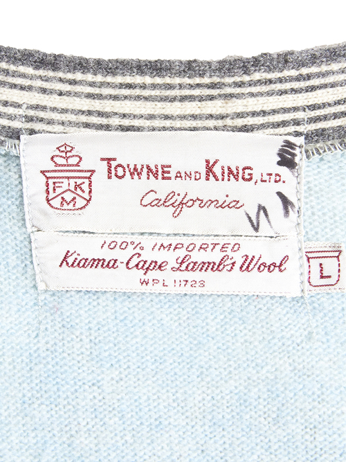"1960s ""TOWNE AND KING"" wool knit vest -SAX-"