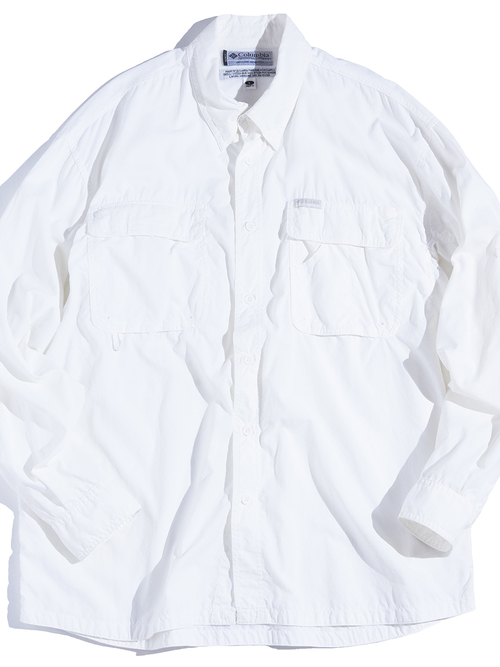 "1990s ""Columbia"" GRT ripstop nylon shirt -WHITE"