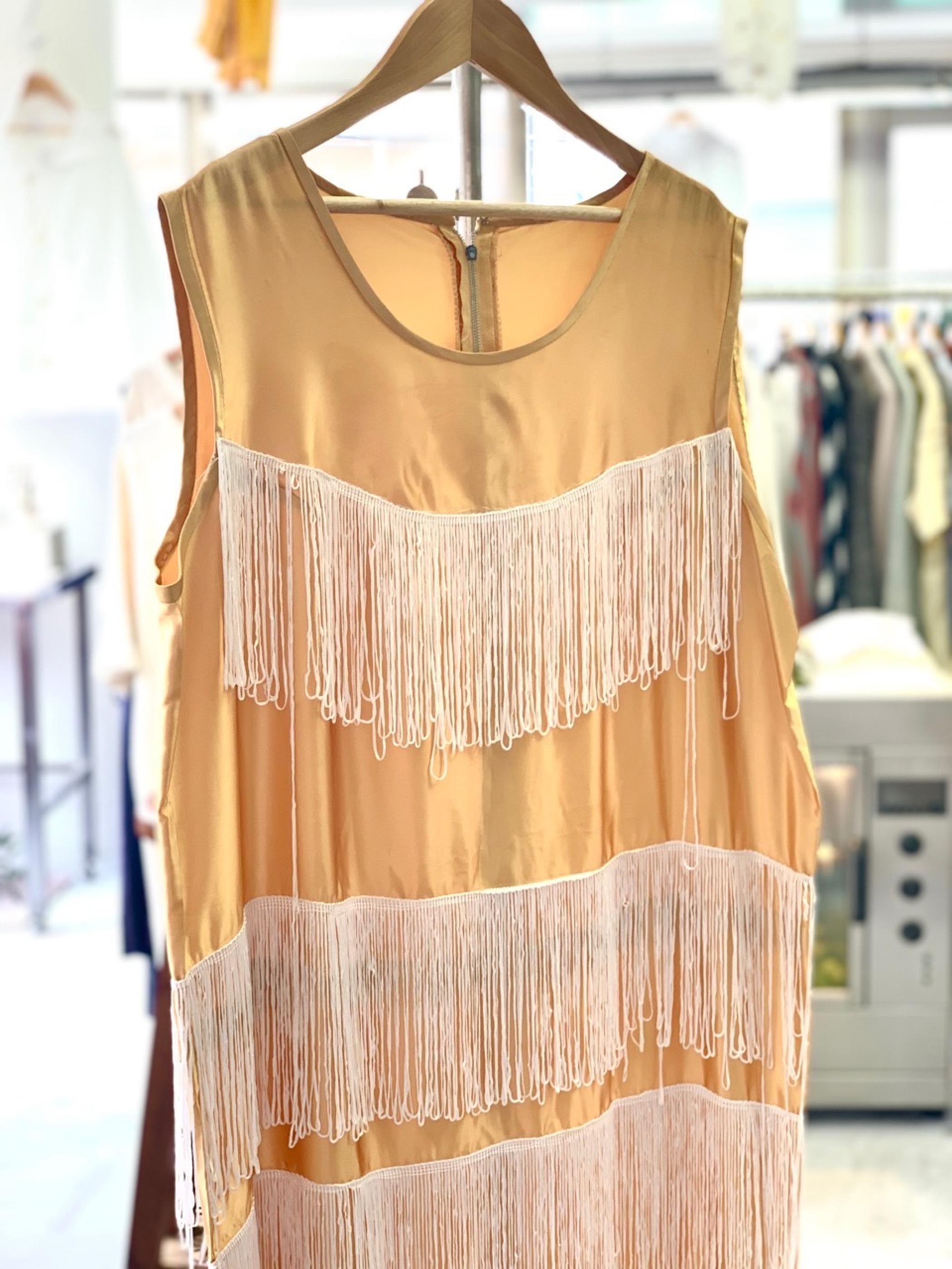 1950〜1960's British satin fringe dress
