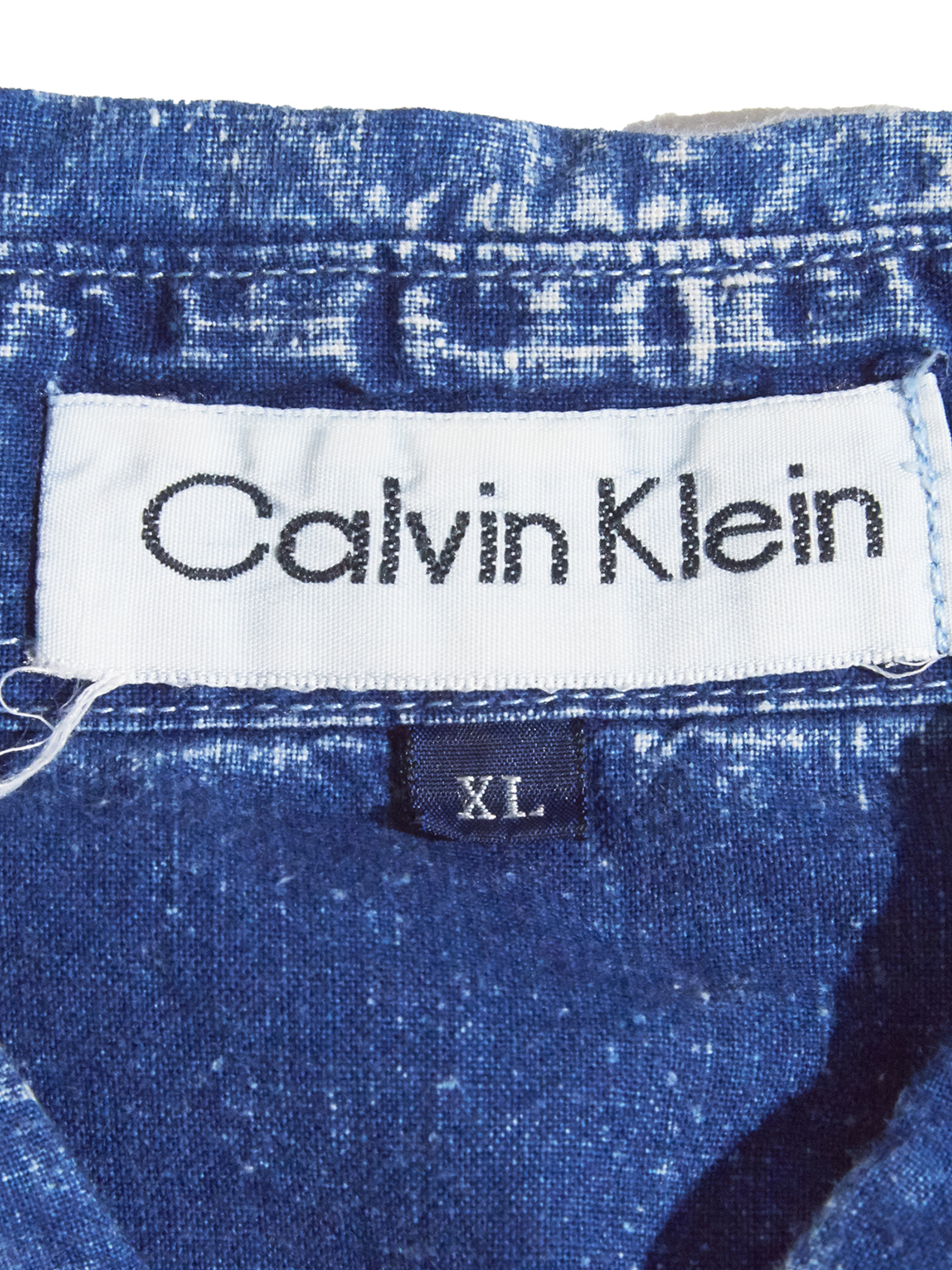 "1990s ""Calvin Klein"" s/s chemical wash shirt -BLUE-"