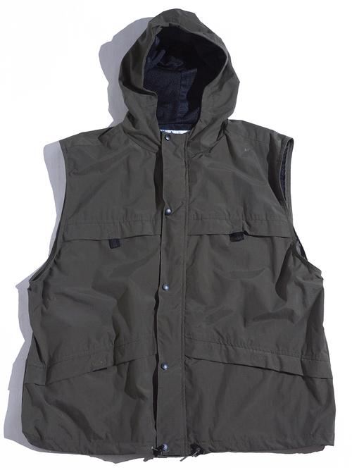 """1990s """"UTILITY"""" nylon shell hoodie vest -KHAKI-"""