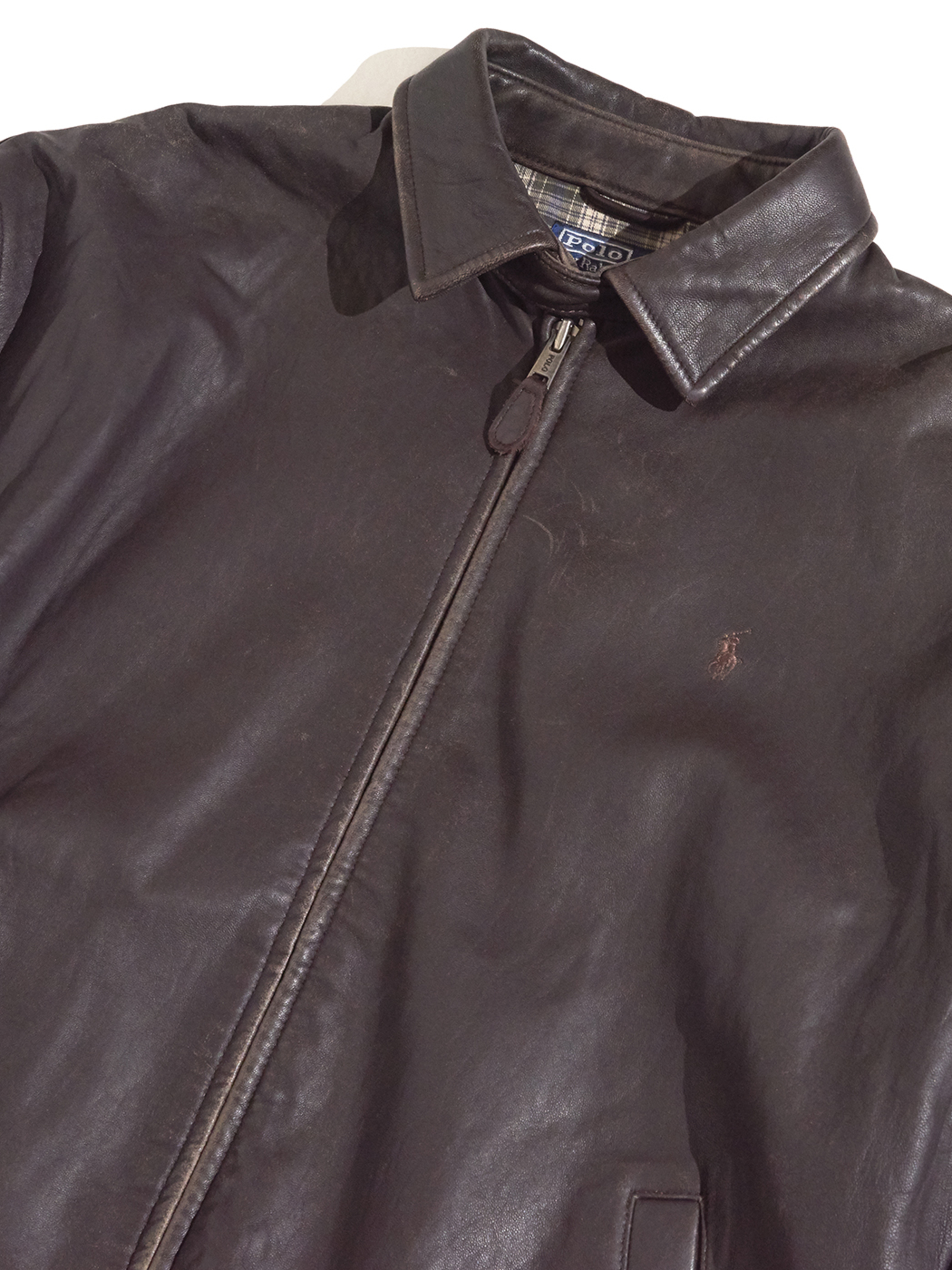"1990s ""POLO by Ralph Lauren"" smooth leather drizzler jacket -DARK BROWN-"