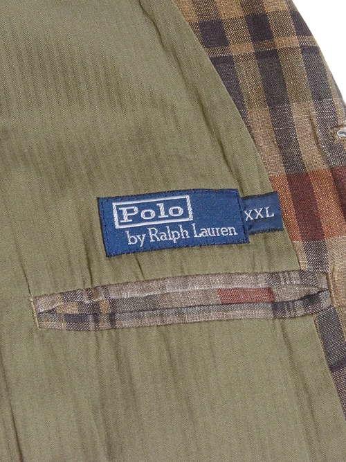 "2000s ""POLO by Ralph Lauren"" linen tailored jacket -BROWN-"