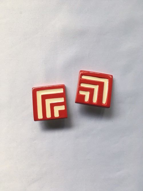 wood square earrings