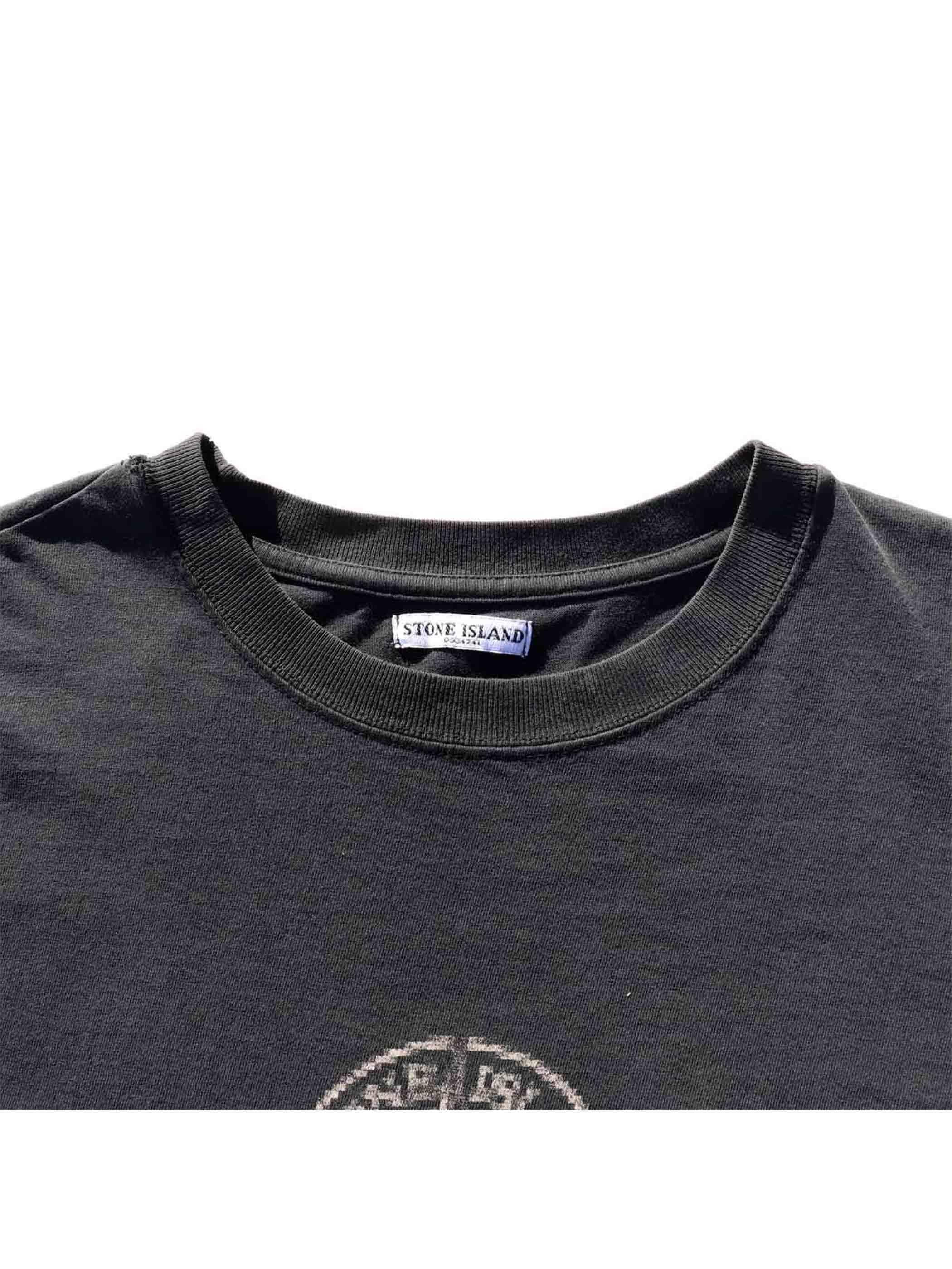 """90's STONE ISLAND """"BLUR COMPASS LOGO PRINT"""" L/S T-Shirt [L]"""