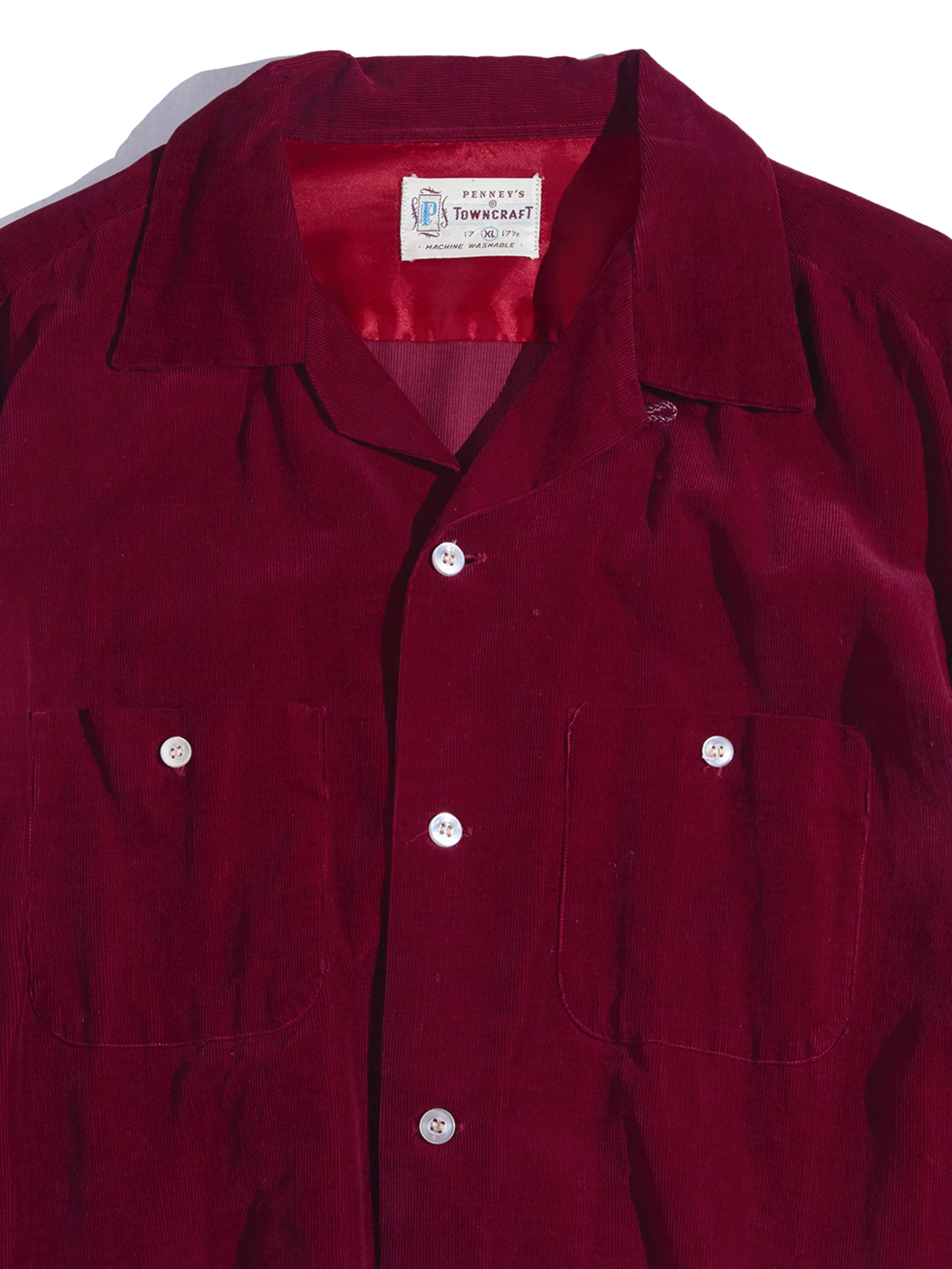 """1950s """"TOWNCRAFT"""" corduroy shirt -WINE RED-"""