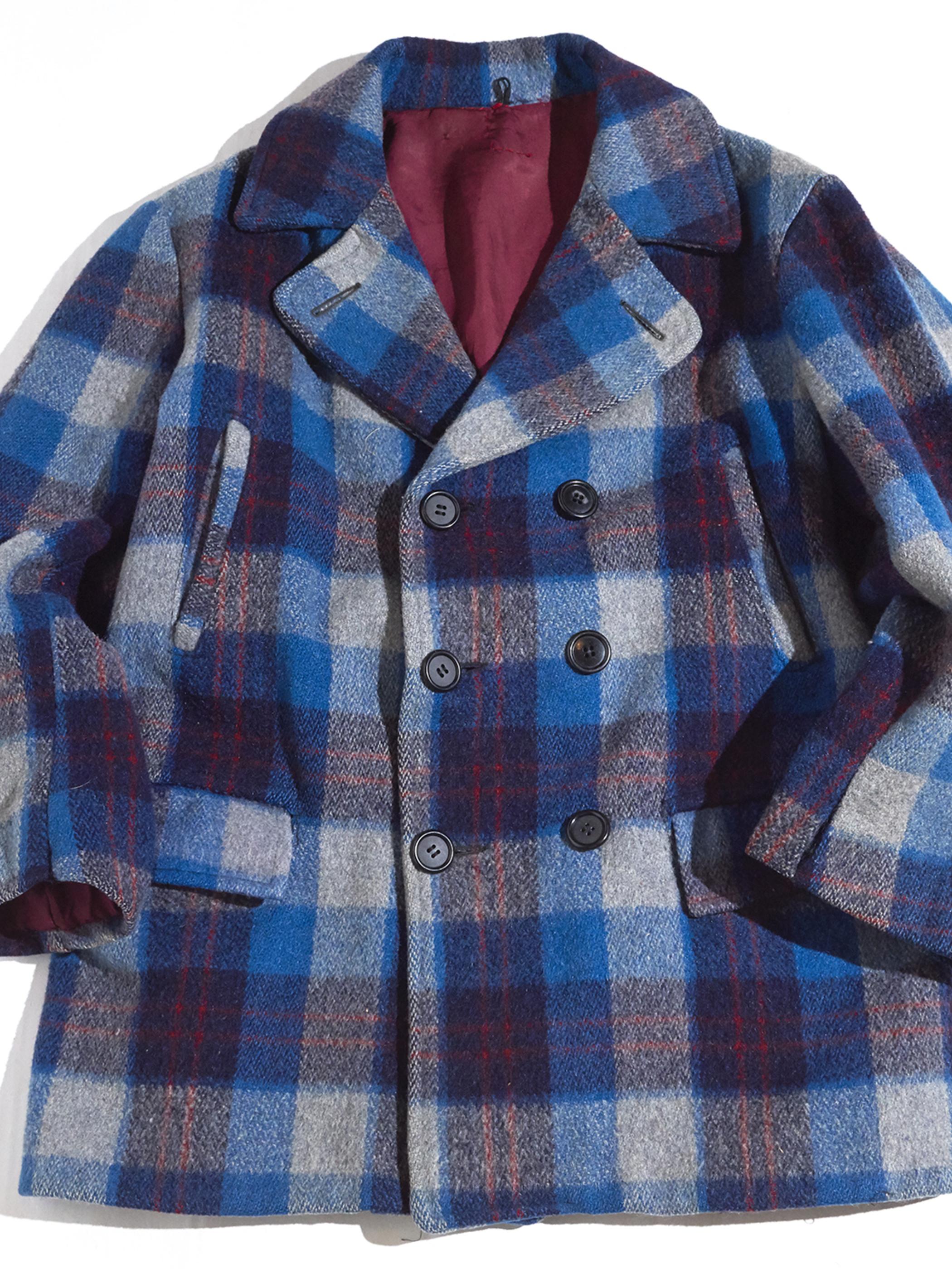 """1940s """"unknown"""" double breast wool half coat -BLUE- <SALE¥38000→¥30400>"""