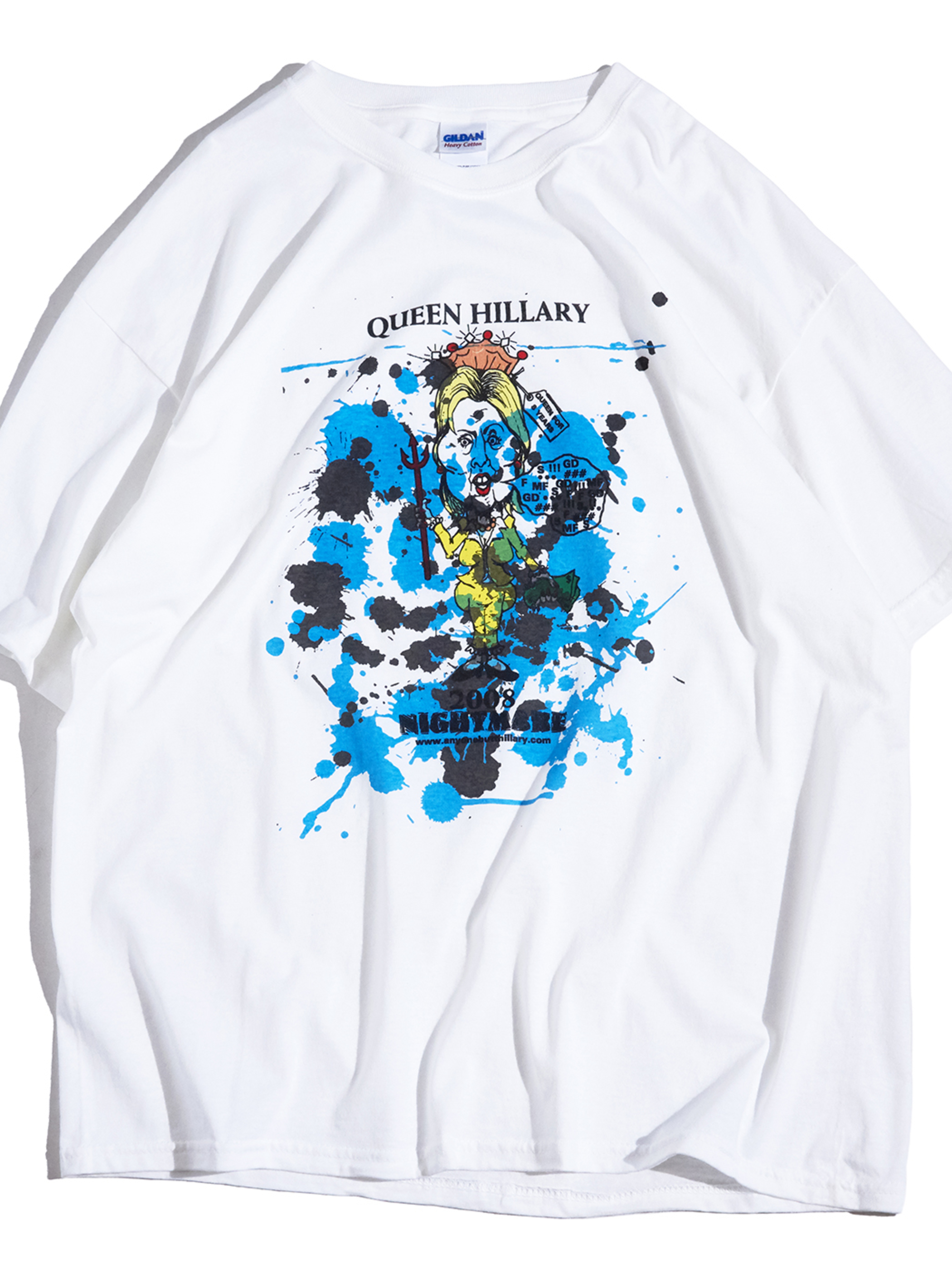 "2000s ""unknown"" splash paint printed tee #4 -WHITE-"