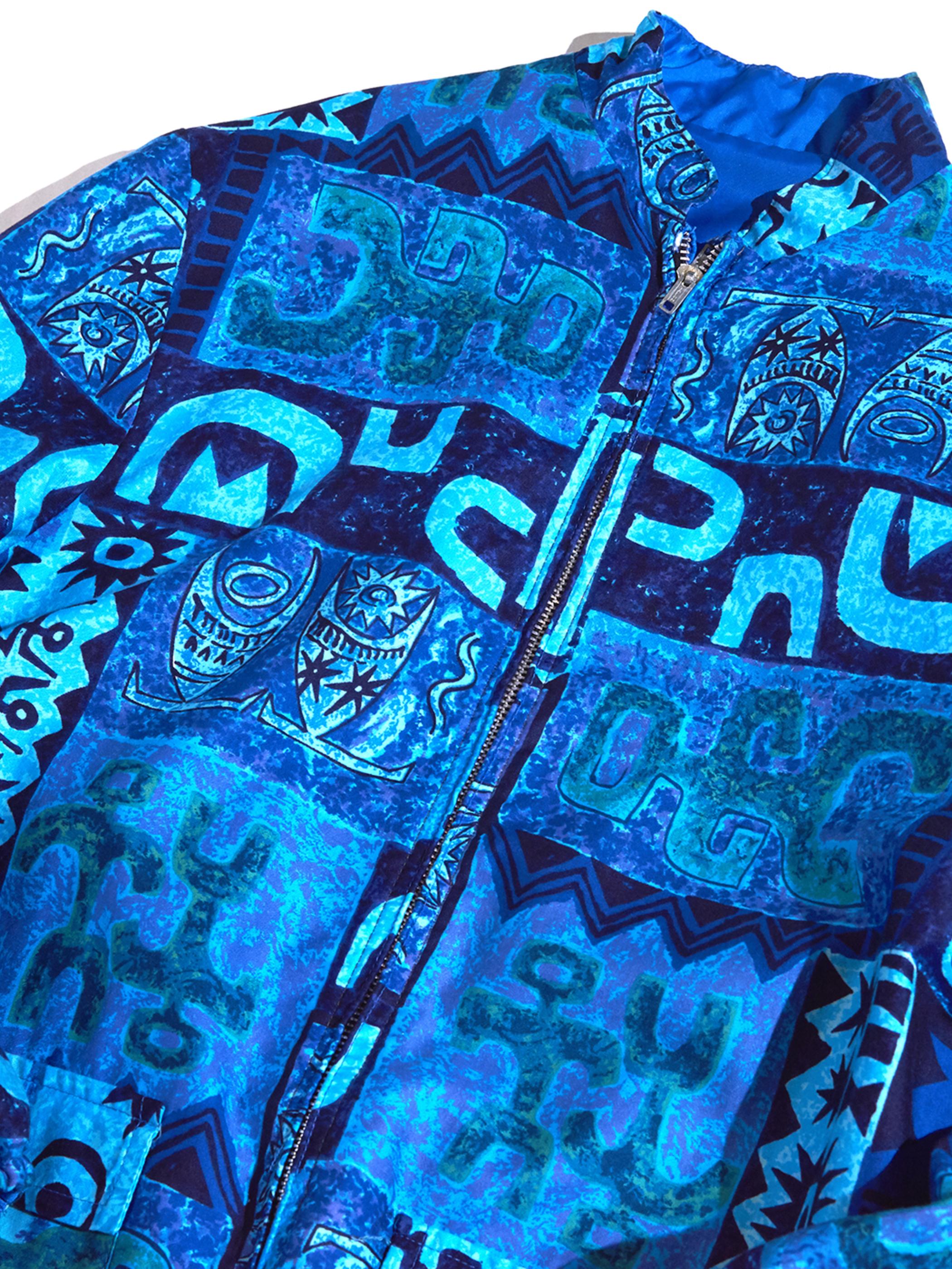 """1960s """"unknown"""" reversible batik pattern nylon jacket -BLUE-"""