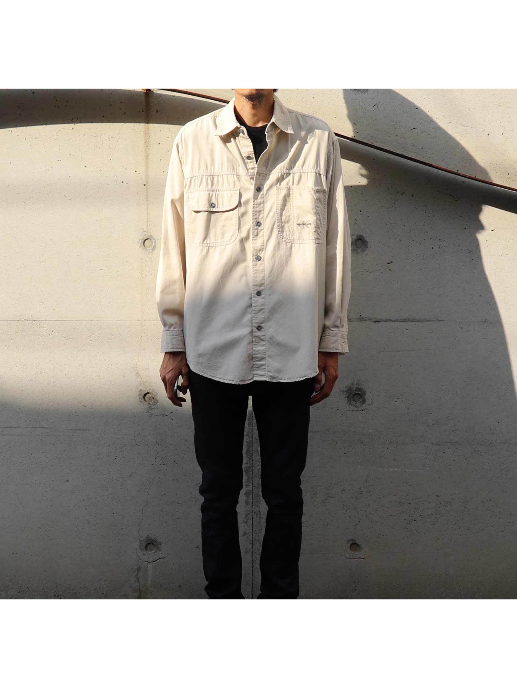 90's CALVIN KLEIN JEANS コットンポプリン ワークシャツ [S]