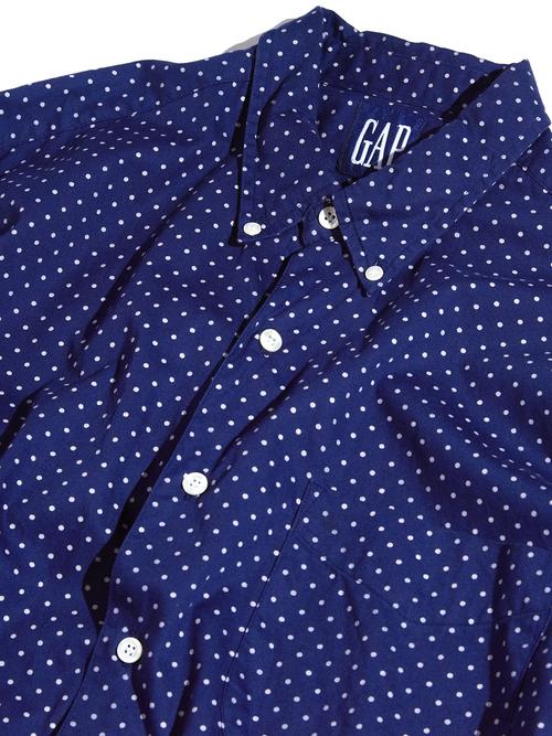 "1990s ""GAP"" dot pattern B.D. shirt -NAVY-"