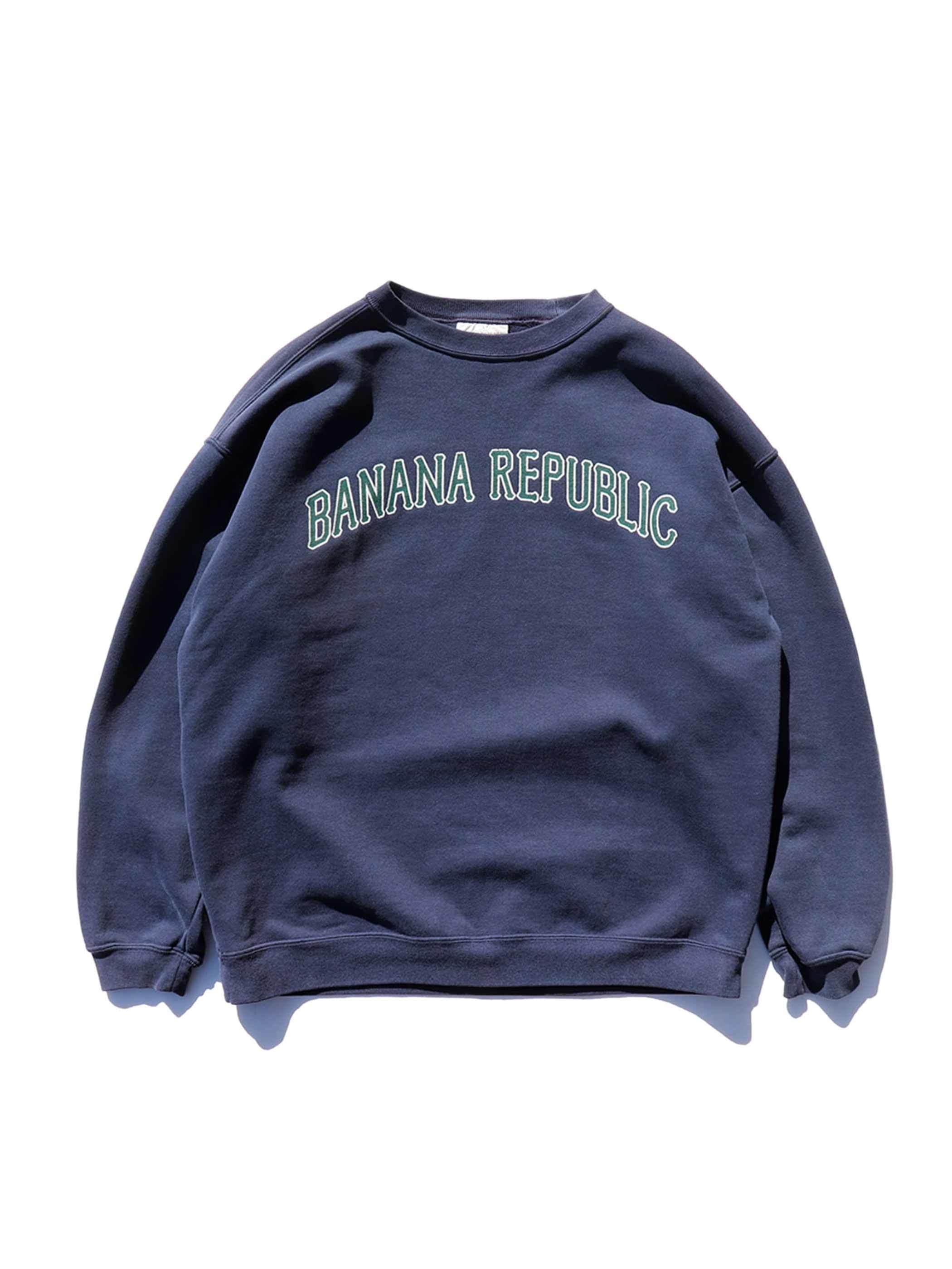 90's BANANA REPUBLIC ロゴプリント クルーネックスウェット [M]
