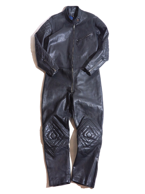 1980s motorcycle leather all in one -BLACK-