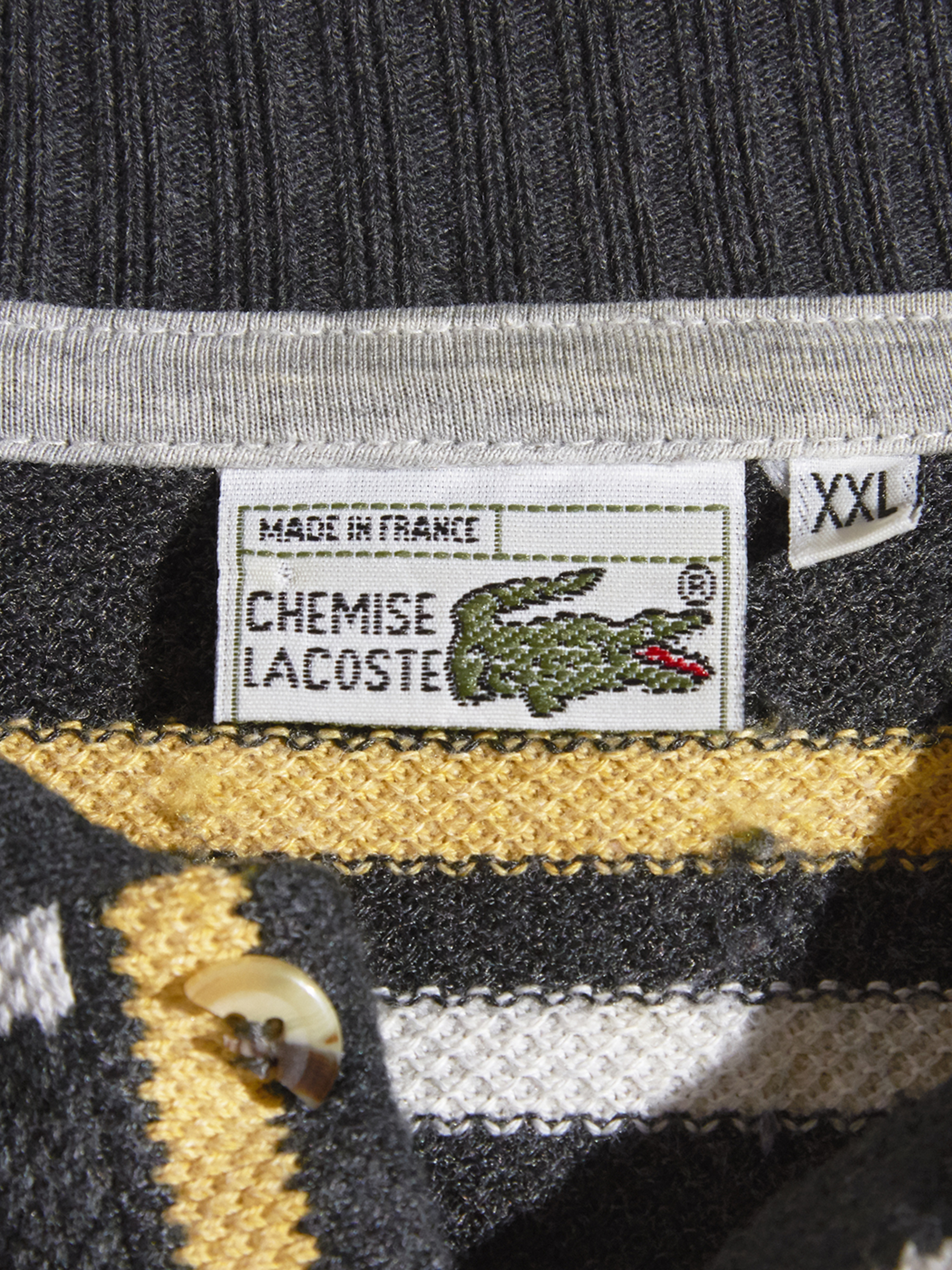 """1980s """"LACOSTE"""" L/S border knit polo -CHACOAL-"""