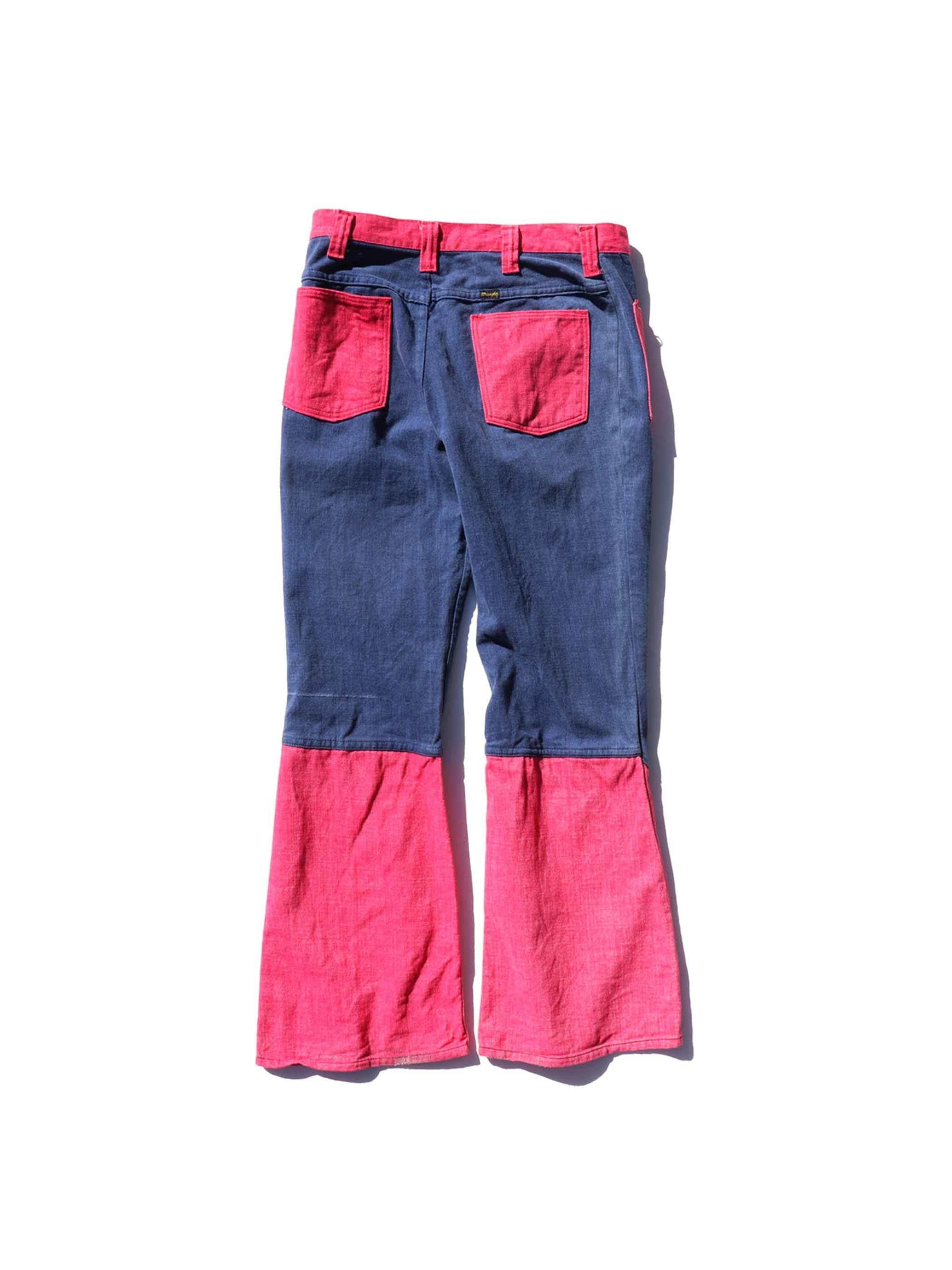 70's WRANGLER USA製 ブルー×ピンク フレアデニムパンツ [W32]