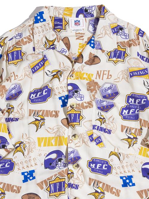 "1990s ""NFL"" s/s rayon pattern shirt -ECRU-"