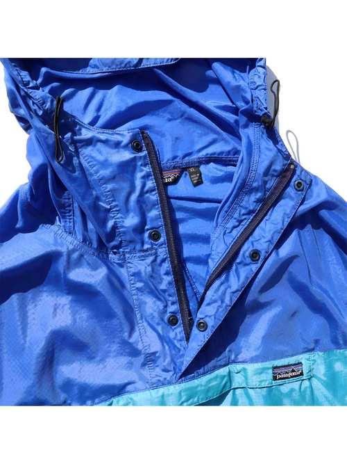 80's PATAGONIA ブルー×ライトブルー フェザーウェイトシェルプルオーバー [XL]