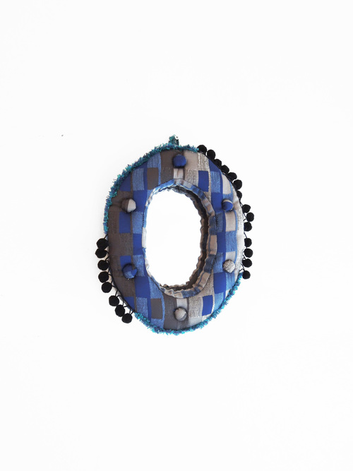 Wall mirror oval s block blue