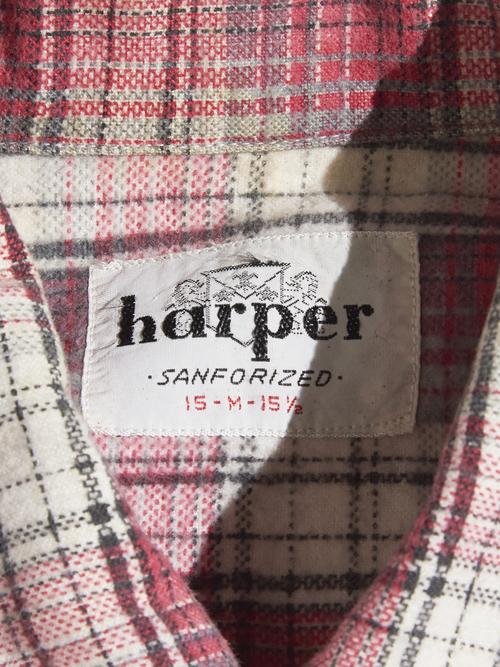 "1960s ""harper"" print flannel check shirt -RED-"