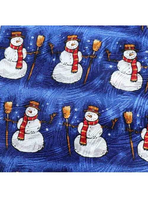 80's J.Z. RICHARDS USA製 雪だるま柄 クリスマス シルクネクタイ