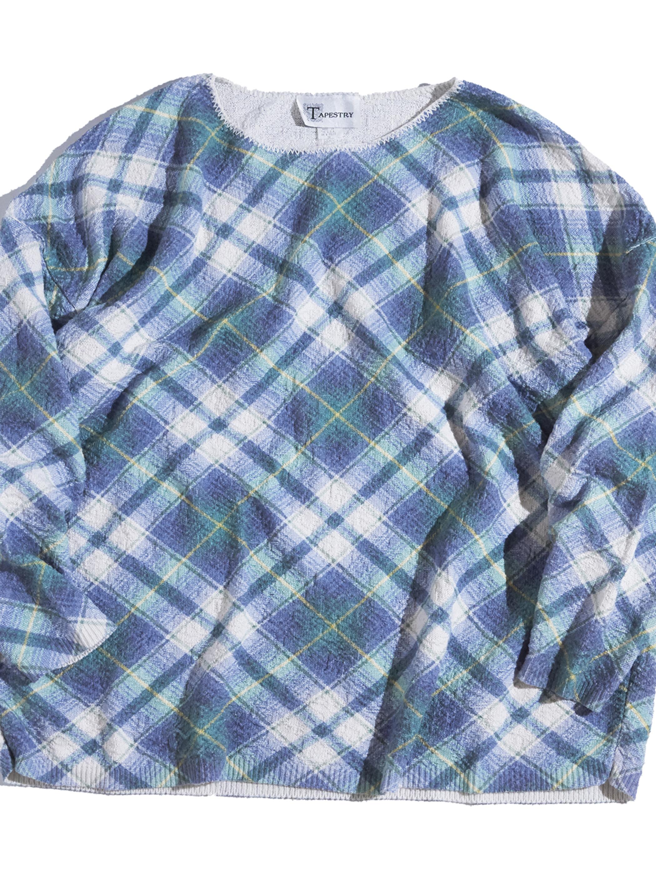 "1980s ""TAPESTORY"" cotton pattern knit -CHECK-"