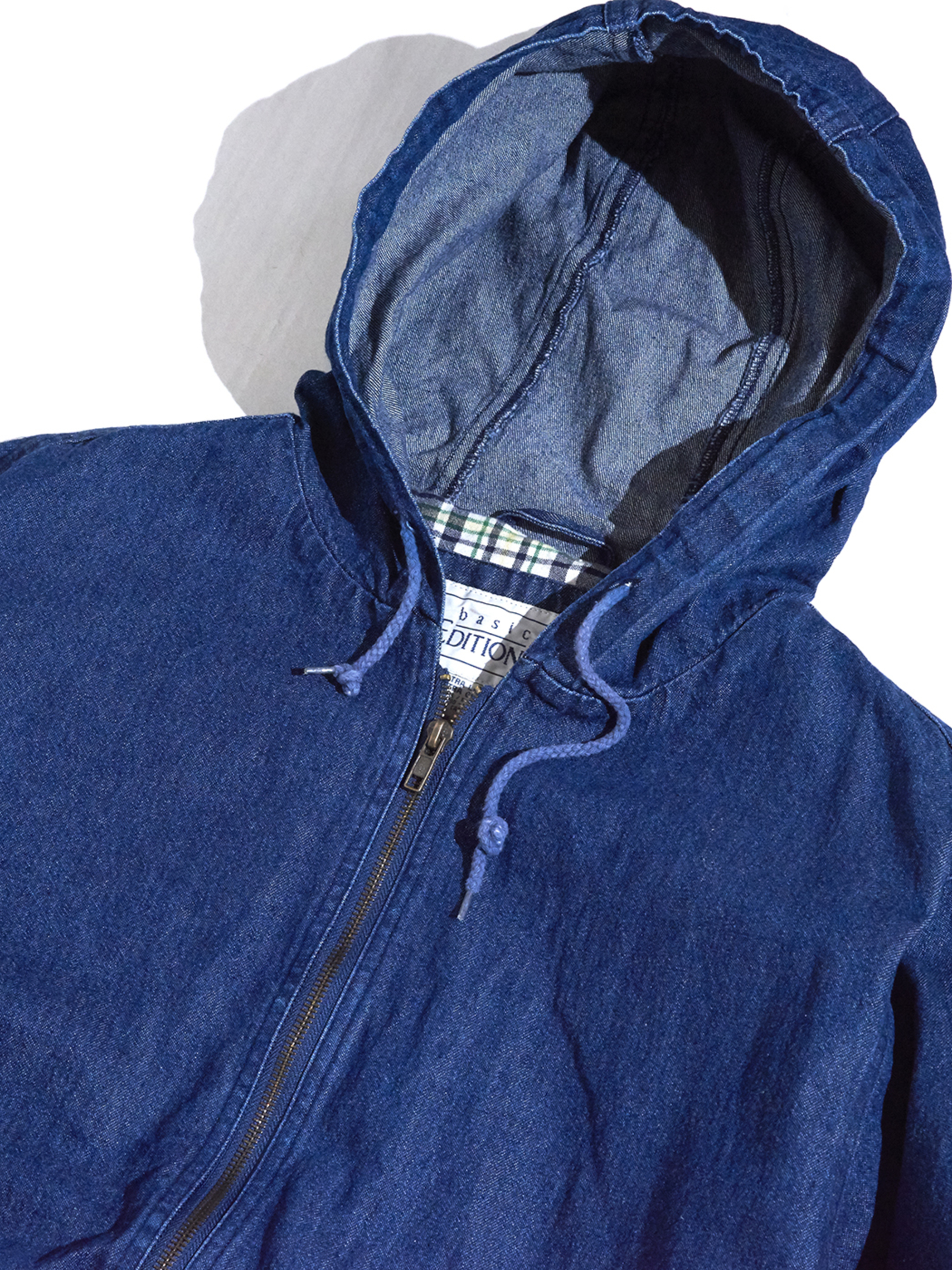 "1990s ""BASIC EDITIONS"" zip up denim hooded jacket -BLUE-"
