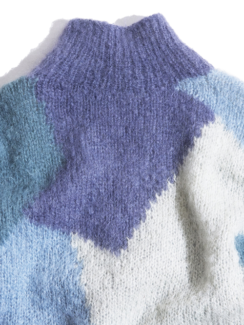 """1980s """"unknown"""" hi-neck mohair knit -ABSTRACT-"""