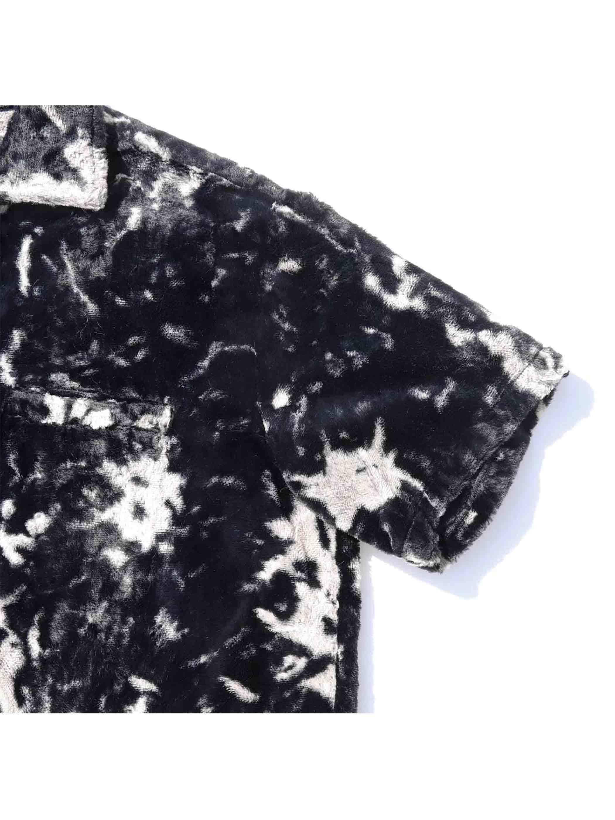 50's SIR GUY ブラック×ホワイト フェイクファー プルオーバーシャツ [M]