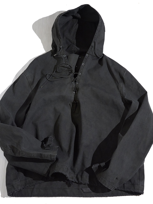 "1940s ""US NAVY"" rubbrized deck parka -PIGMENT DYED BLACK-"