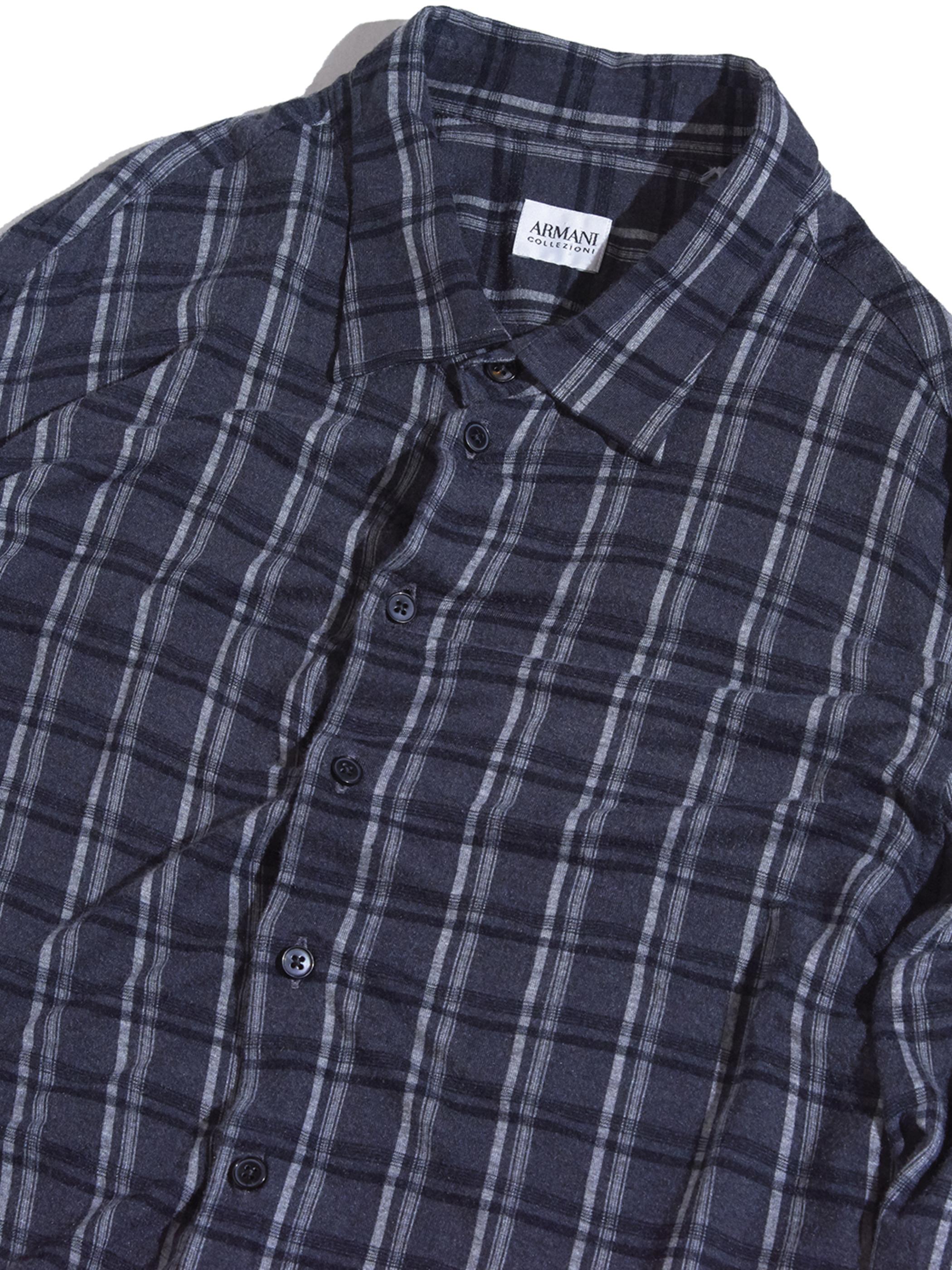 """2000s """"ARMANI"""" check shirt -CHACOAL-"""