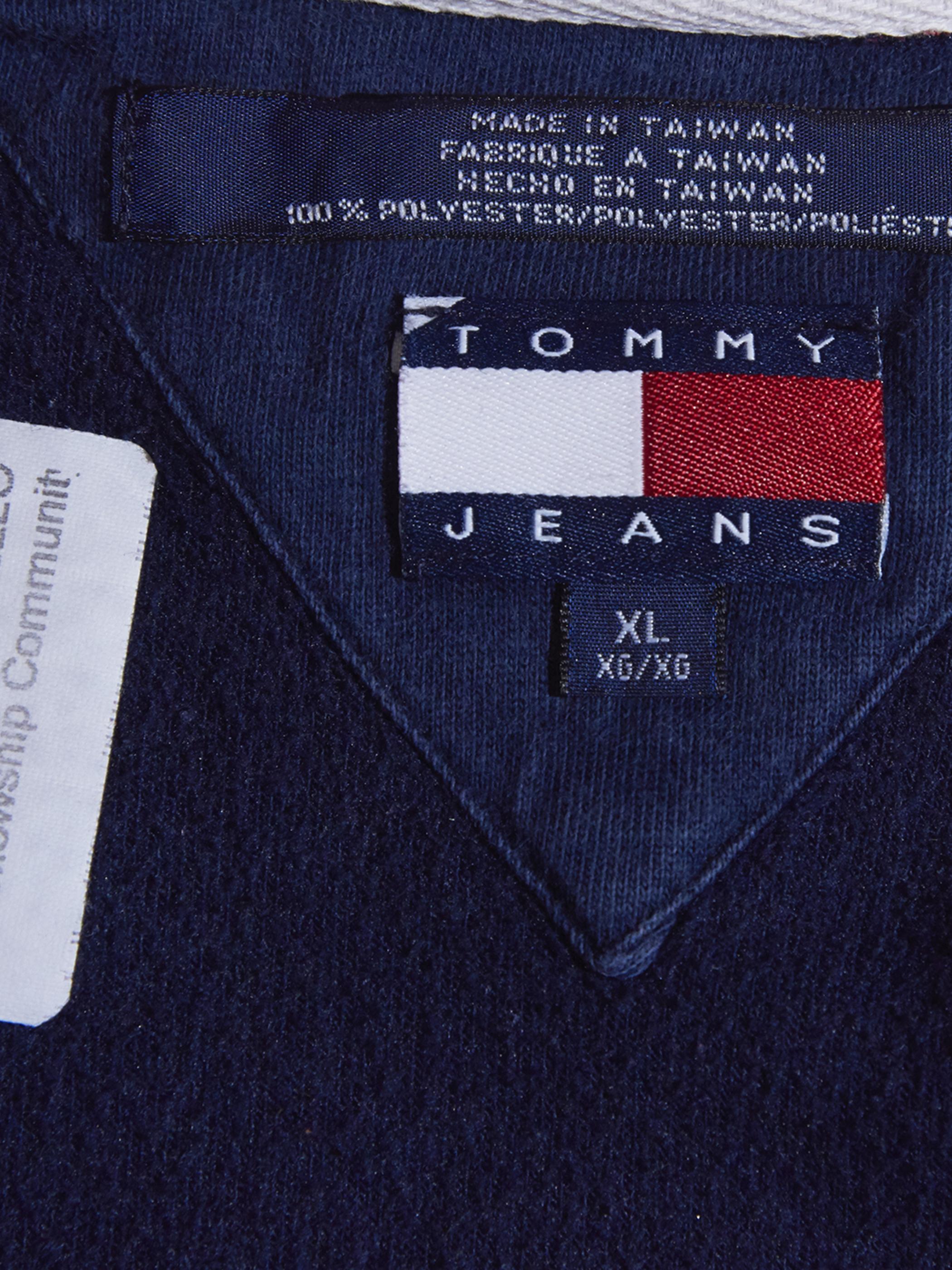 """1990s """"TOMMY JEANS"""" fleece sweat -NAVY-"""
