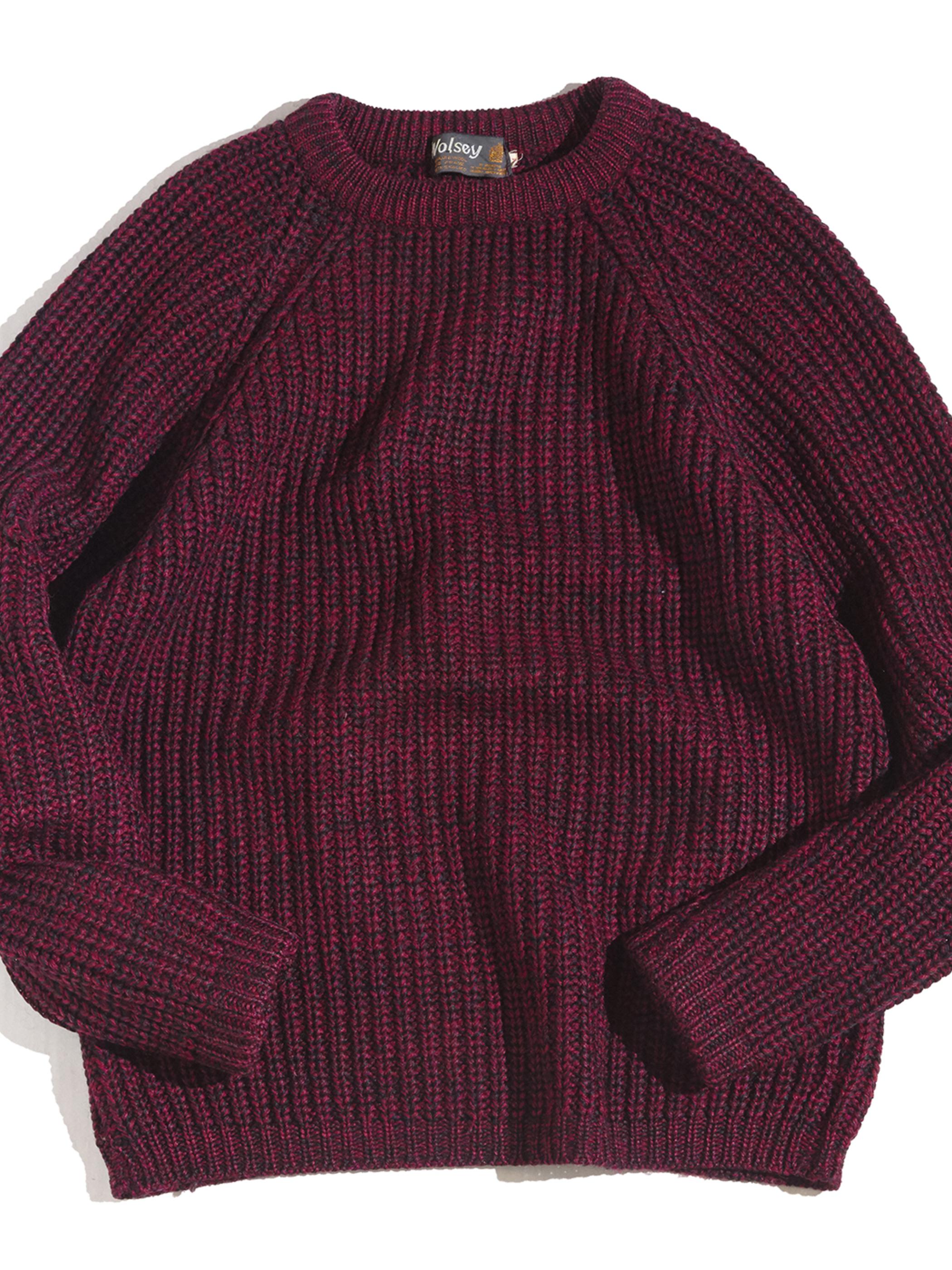 "1970s ""Wolsey"" bulky wool knit sweater -BURGUNDY-"