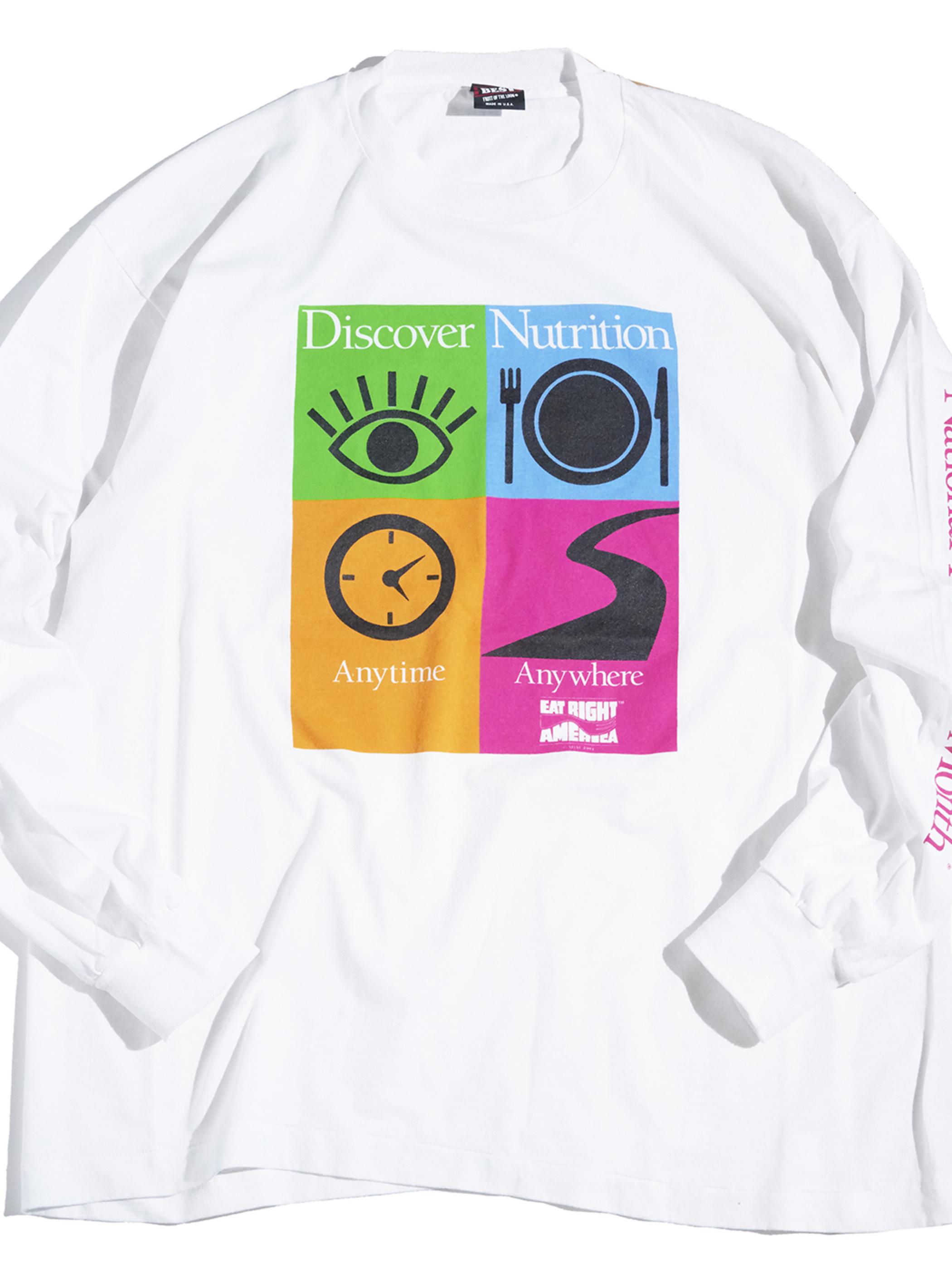 "1990s ""unknown"" L/S print tee -WHITE-"