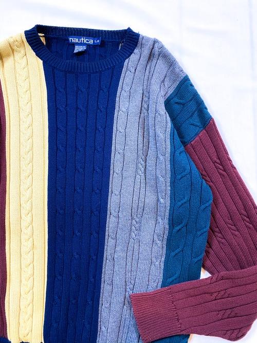 90's nautica multi stripes cotton knit sweater